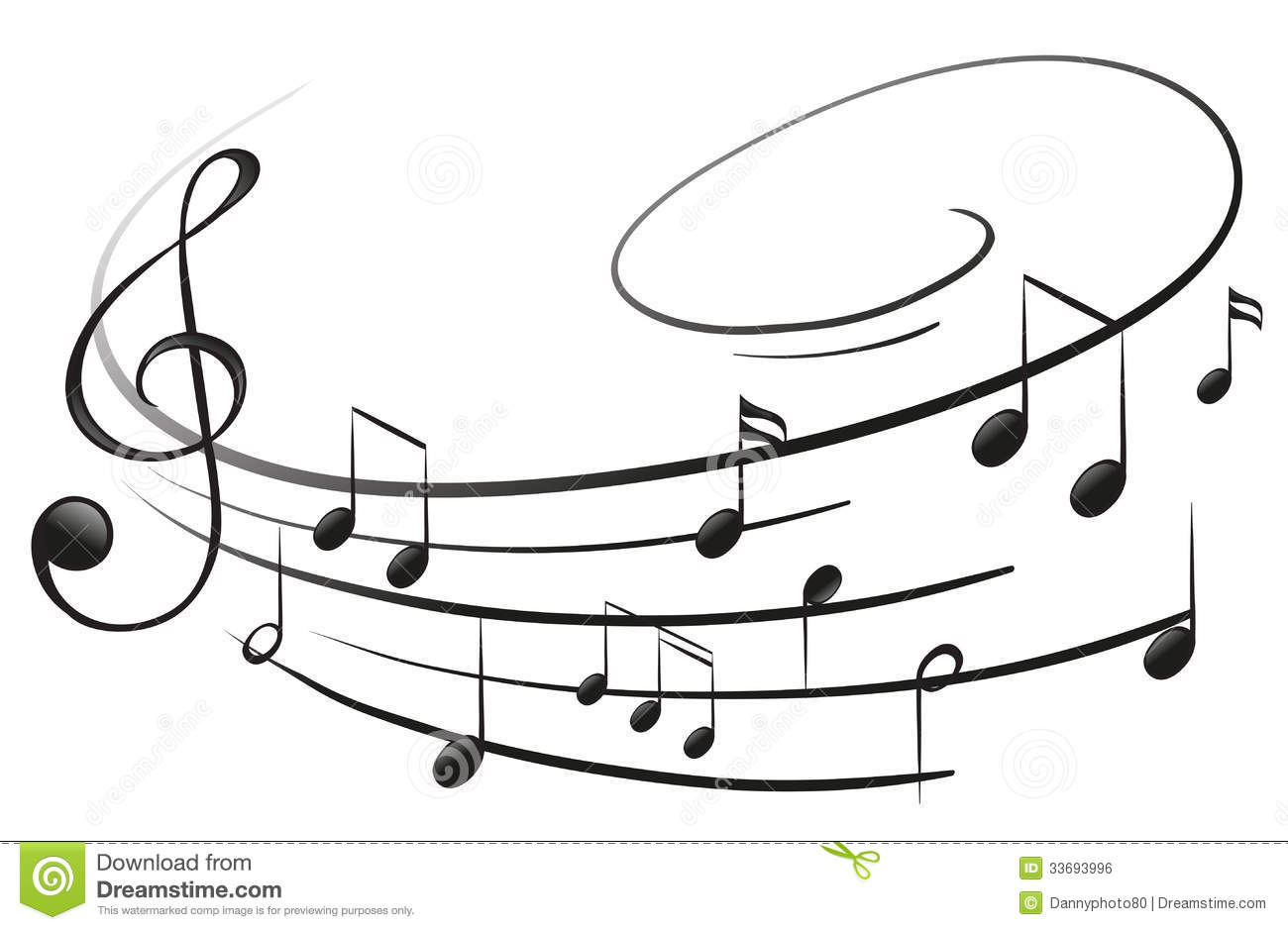 The musical notes with the G-clef