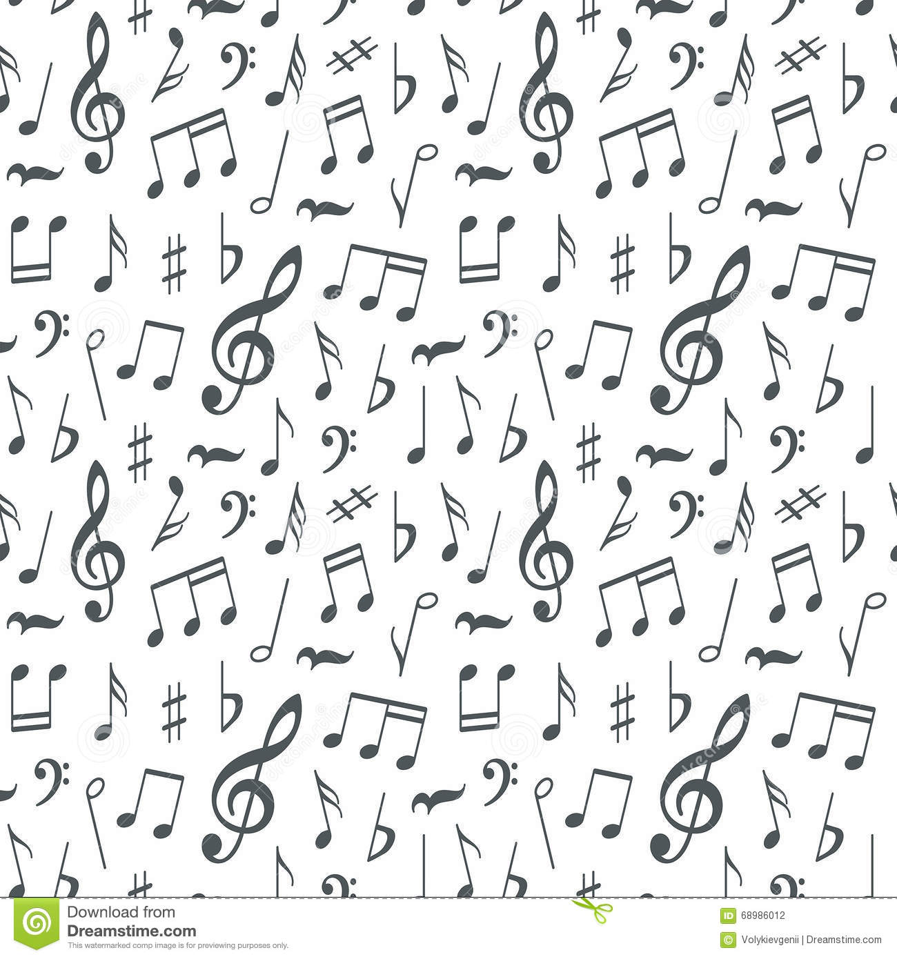 Musical Notes Seamless Pattern Background Stock Vector
