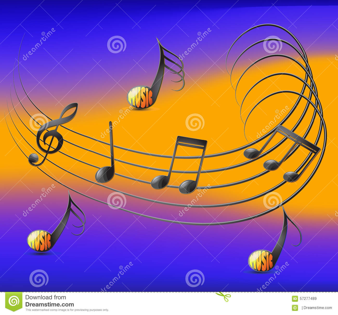 musical notes spread on staff and colorful background stock vector