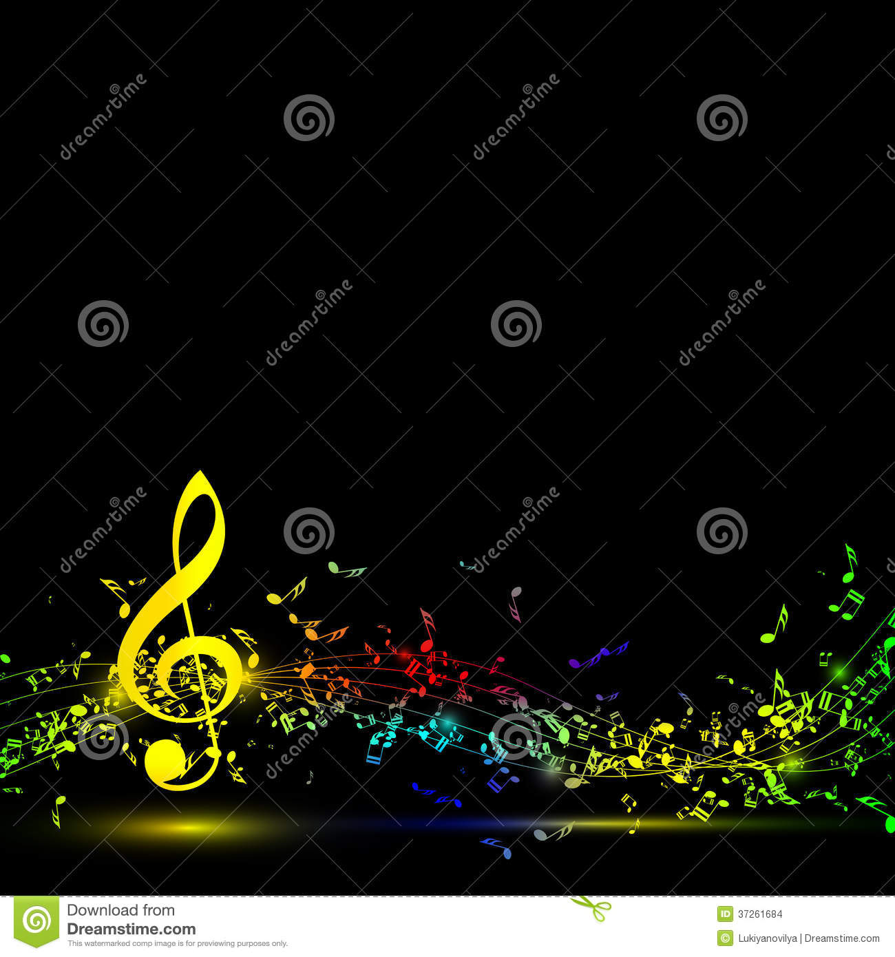 musical notes staff background on black stock images