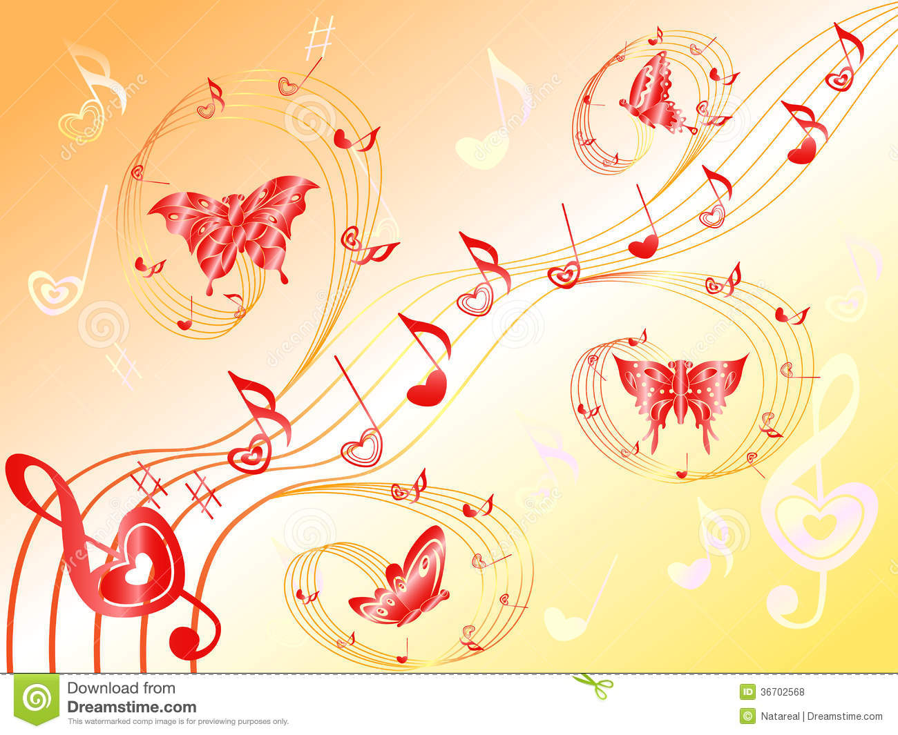 Musical notes on stave with hearts and butterflies royalty for Note musicali dwg