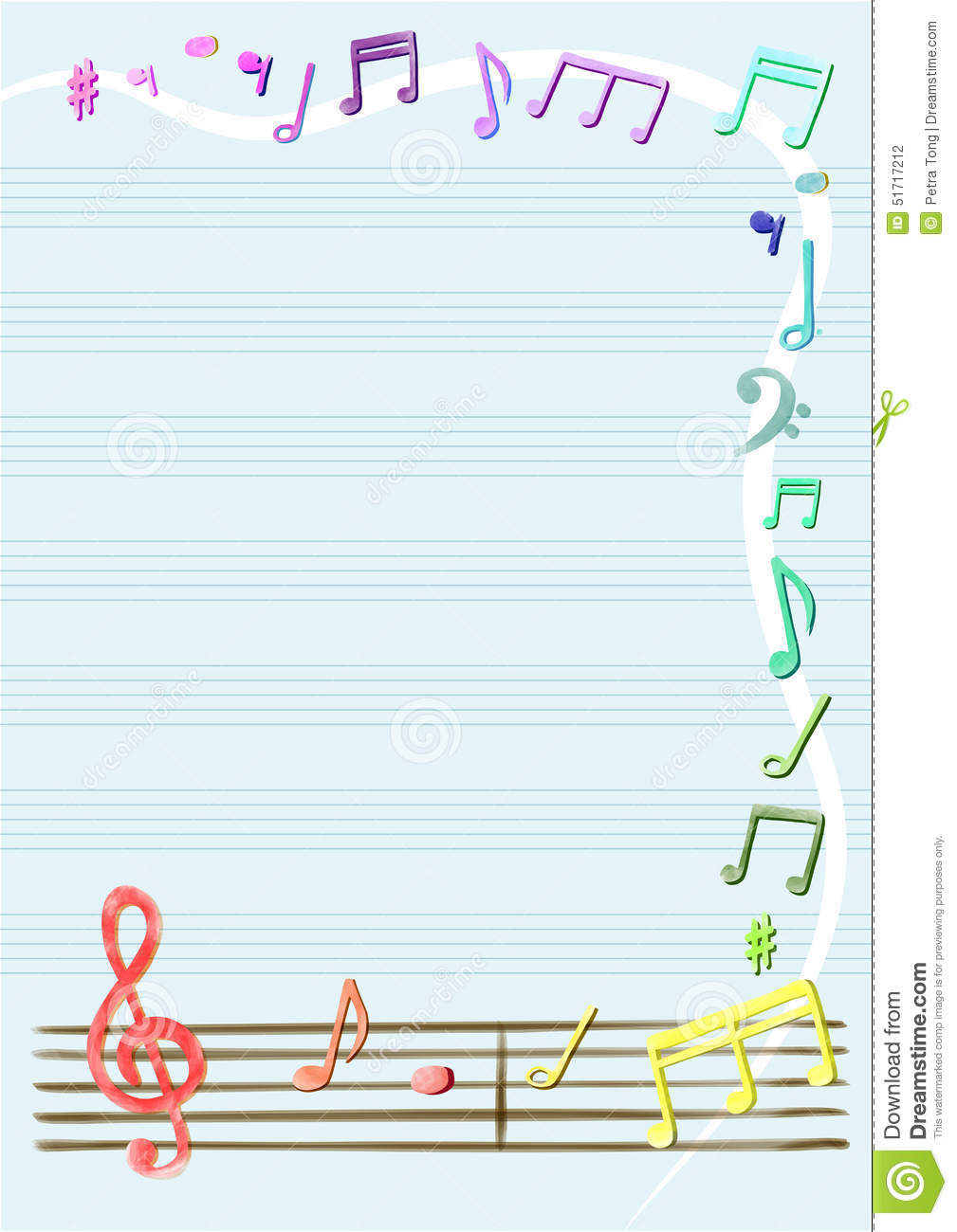 Musical Notes Vector In Notebook Or Frame, Border Stock ...