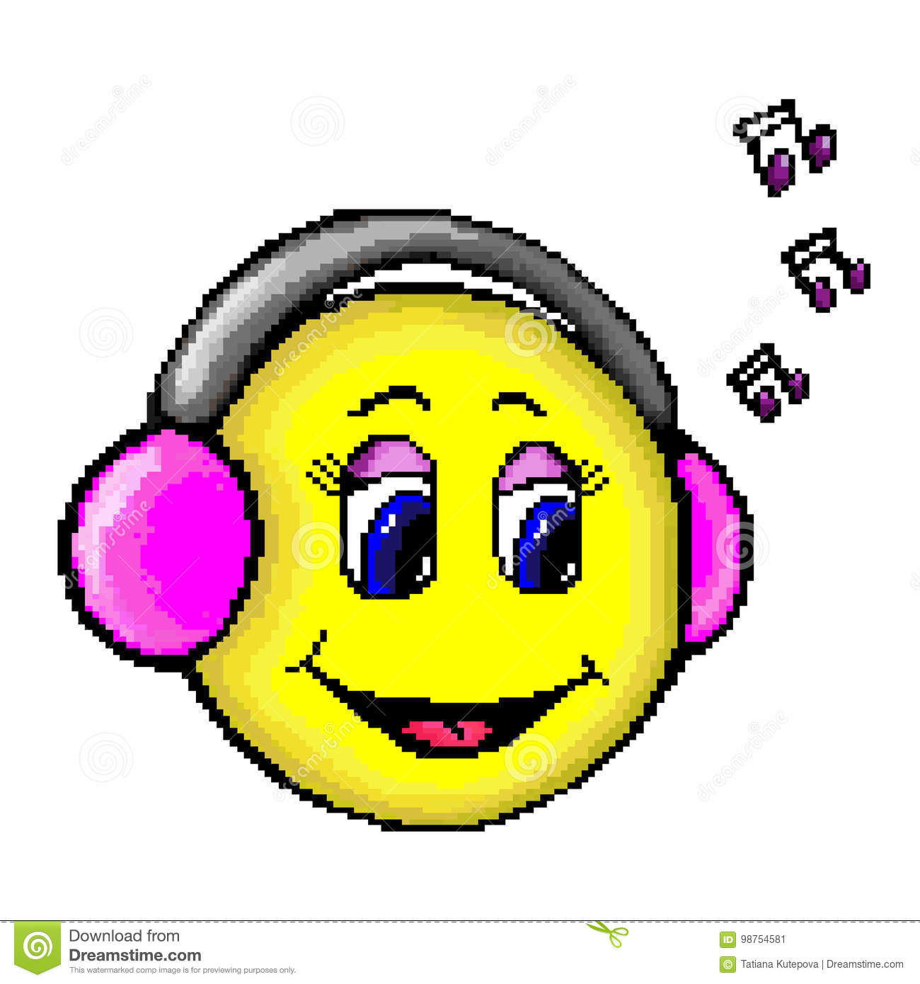 musical pixel face with headphones stock vector illustration of rh dreamstime com Vector Background Musical Abstract Vector