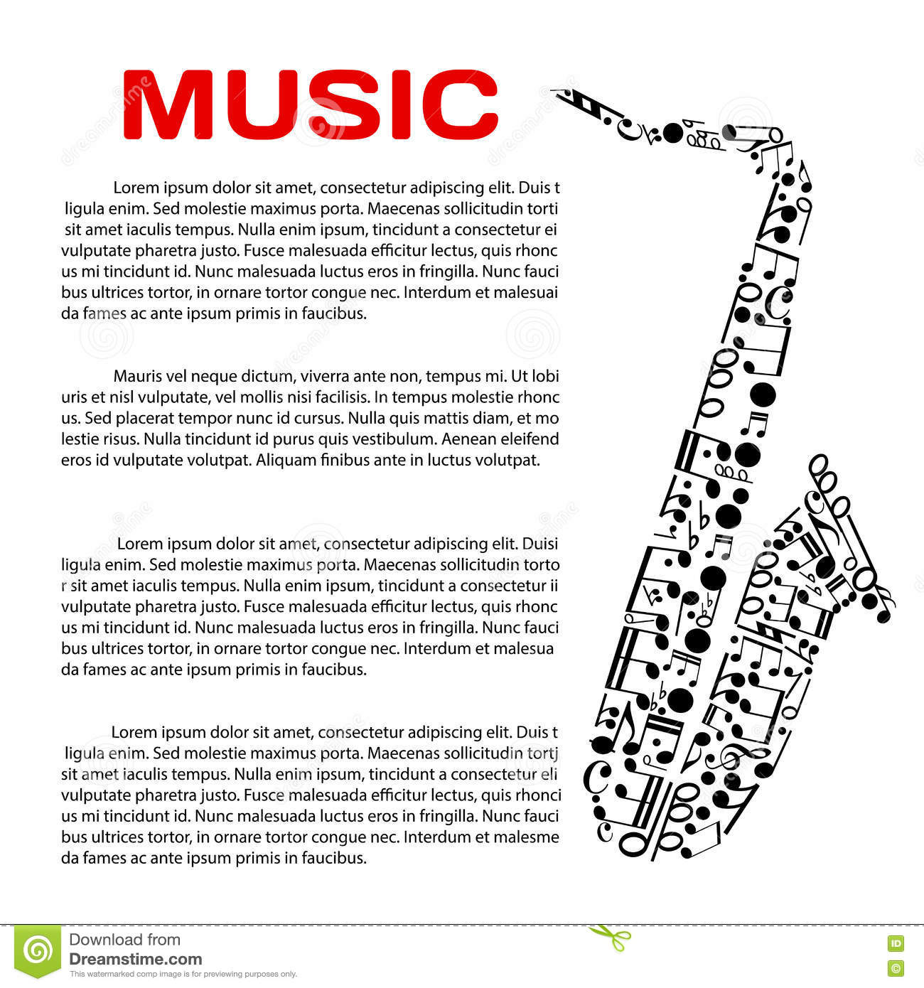 Musical Poster With Notes In A Shape Of Saxophone Stock Vector