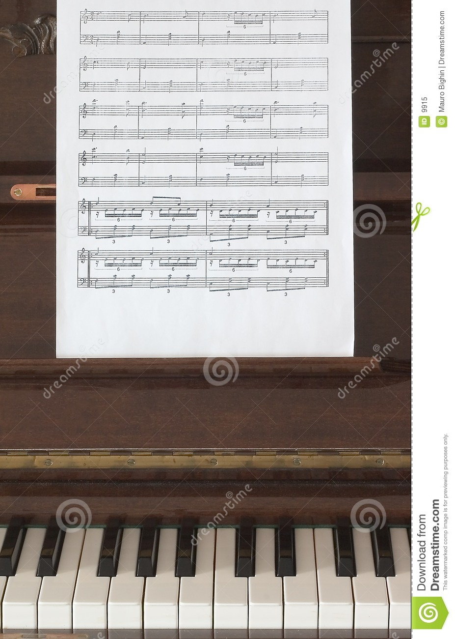 Musical score and piano