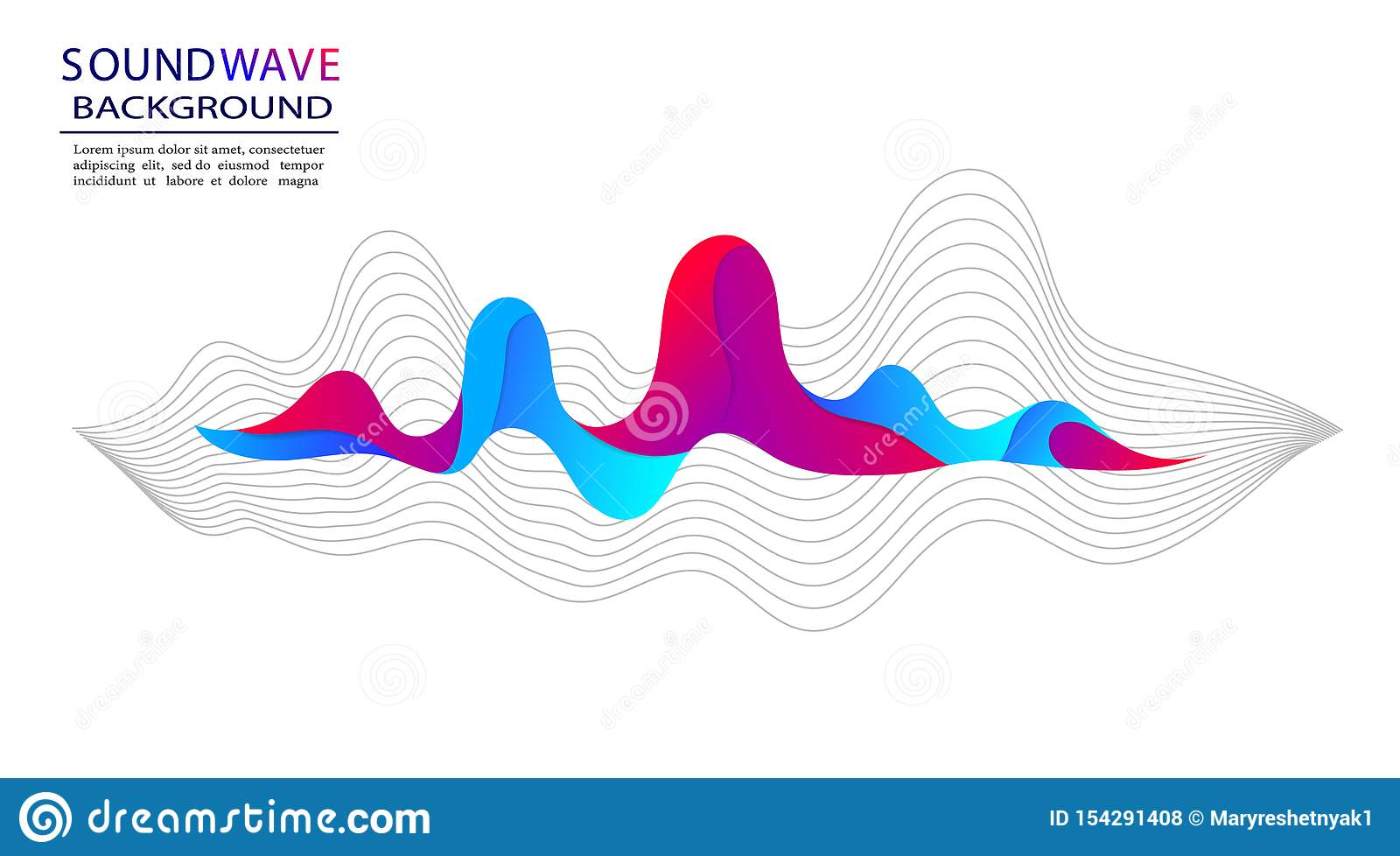 Musical soundwave on isloated background. Abstract sound wave and form of pulse for radio, audio. Trendy background with soundwave