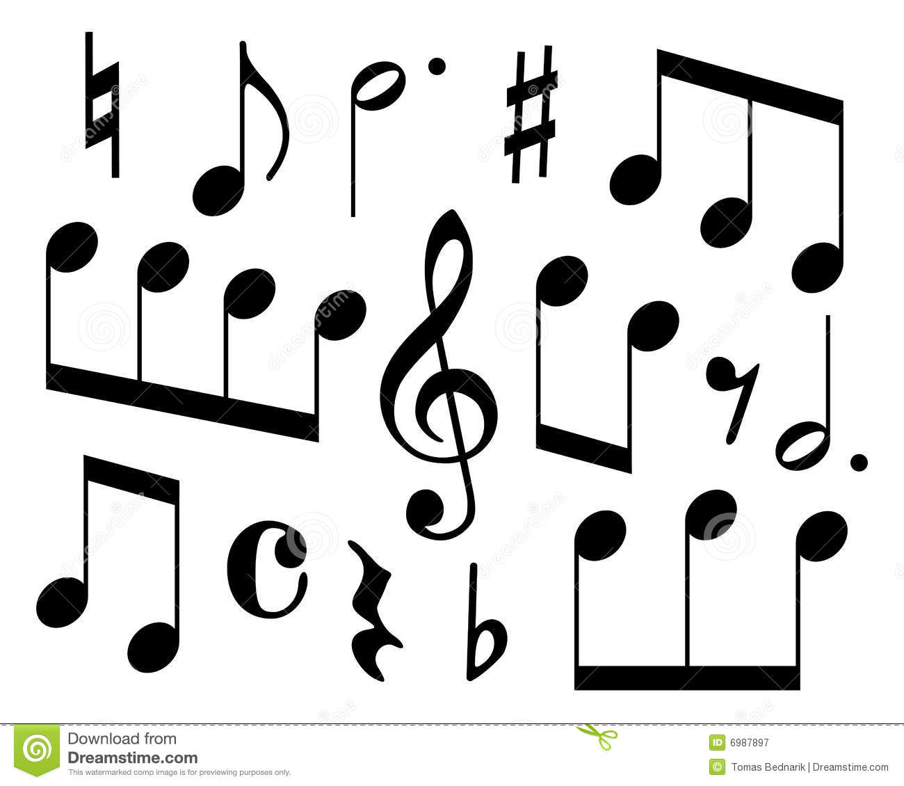Musical Symbols Stock Vector Illustration Of Dotted Line 6987897