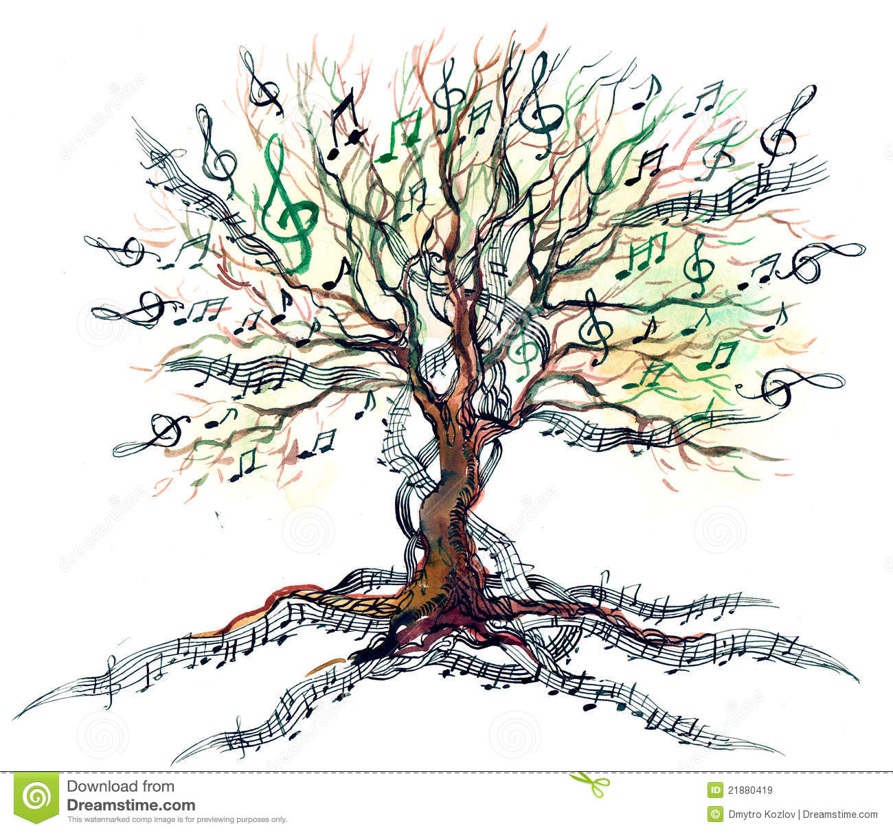 Musical Tree Royalty Free Stock Images - Image: 21880419