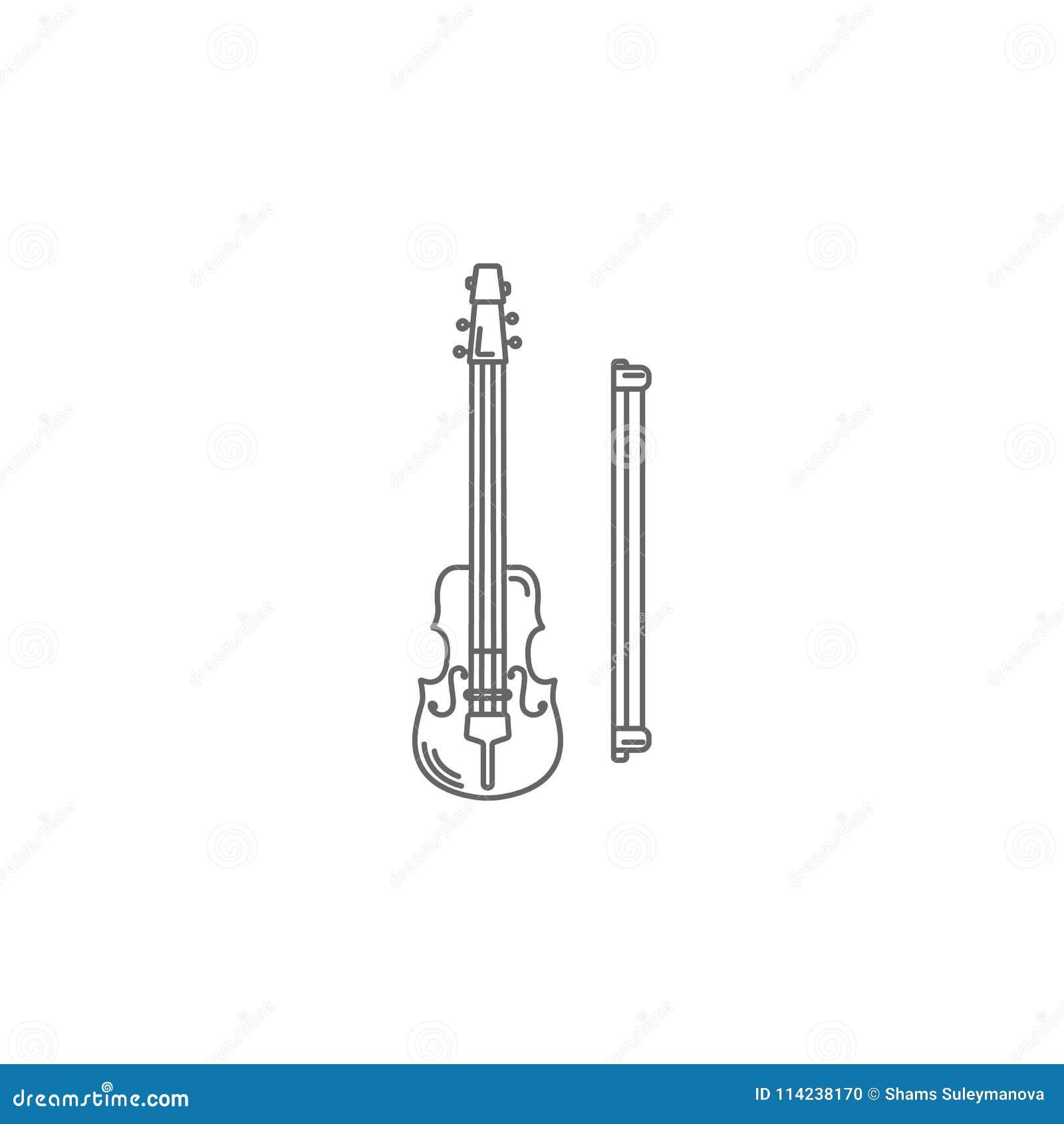 Violin Template | Musical Violin Icon Simple Element Illustration Musical Violin