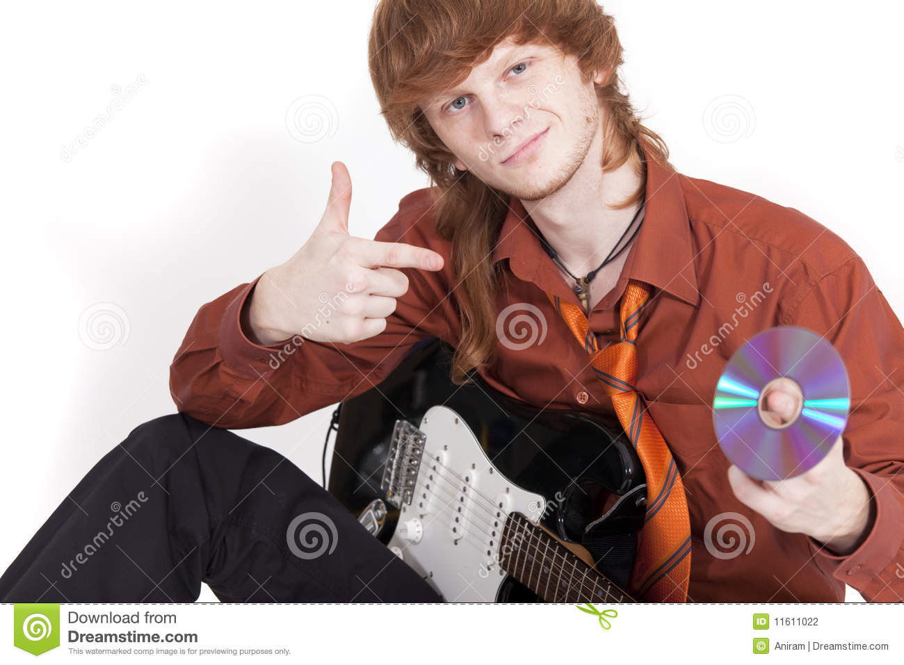 musician with guitar selling compact disc stock photo image of success emotion 11611022. Black Bedroom Furniture Sets. Home Design Ideas