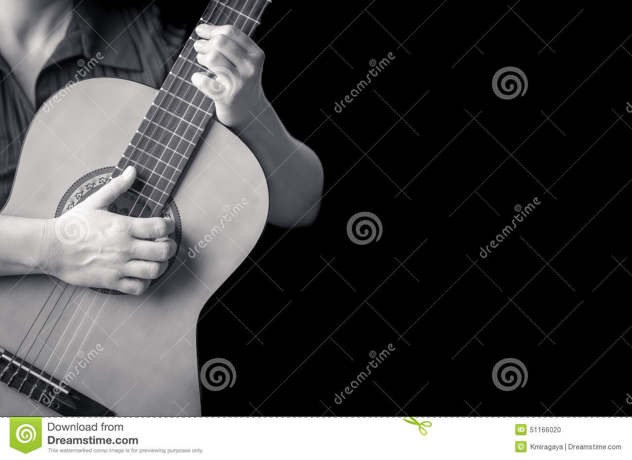 Musician Hands Playing A Classic Guitar Stock Photo ...