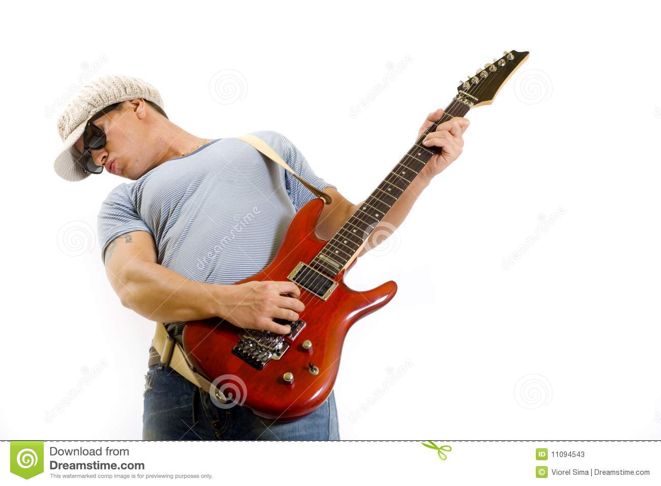 musician holding and playing an electric guitar stock photos image 11094543. Black Bedroom Furniture Sets. Home Design Ideas