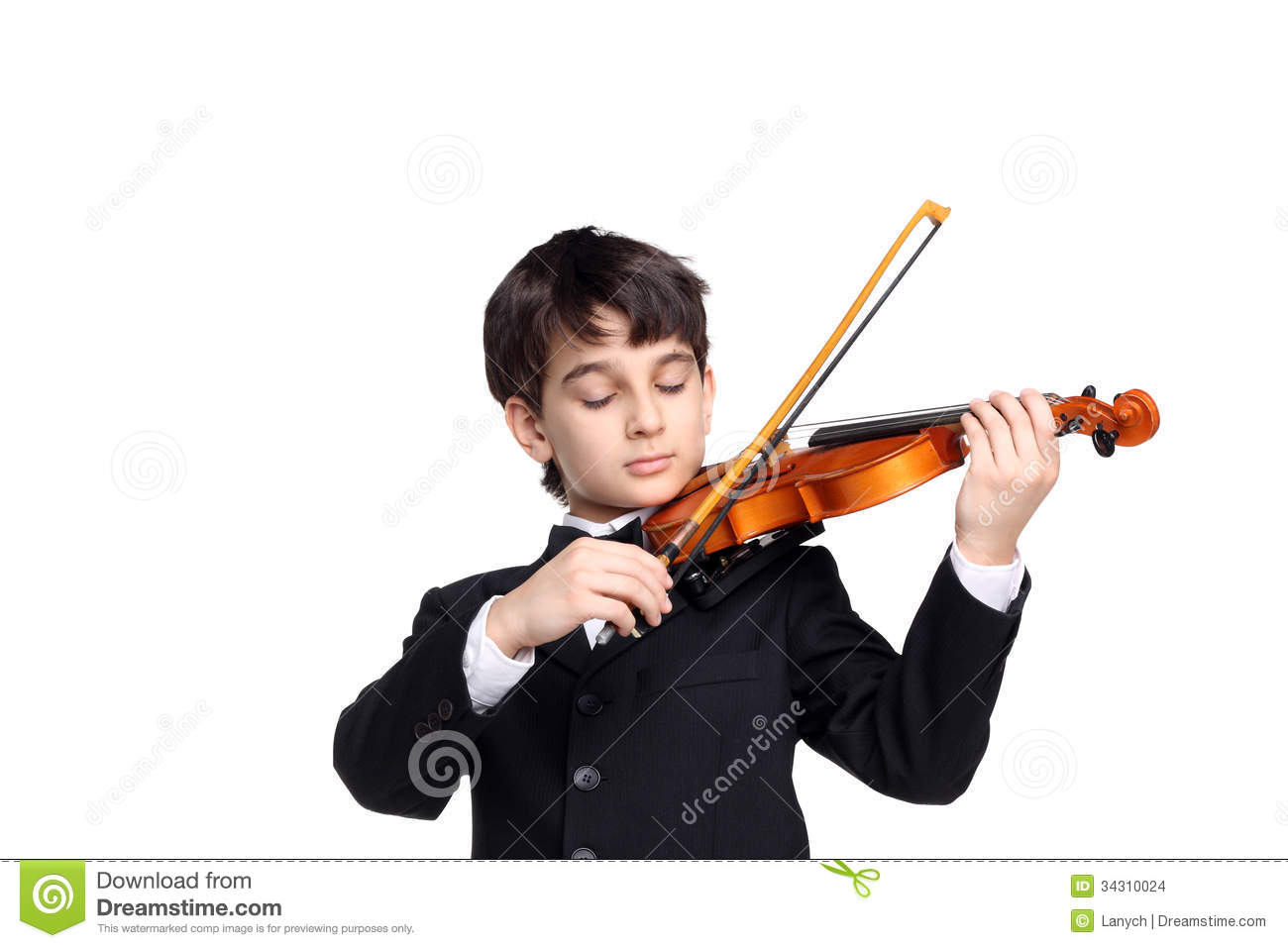 Little handsome boy sleeping playing the violin isolated on white.