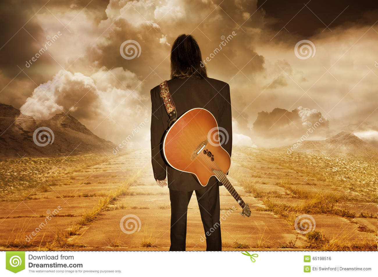 Musician looking into distance