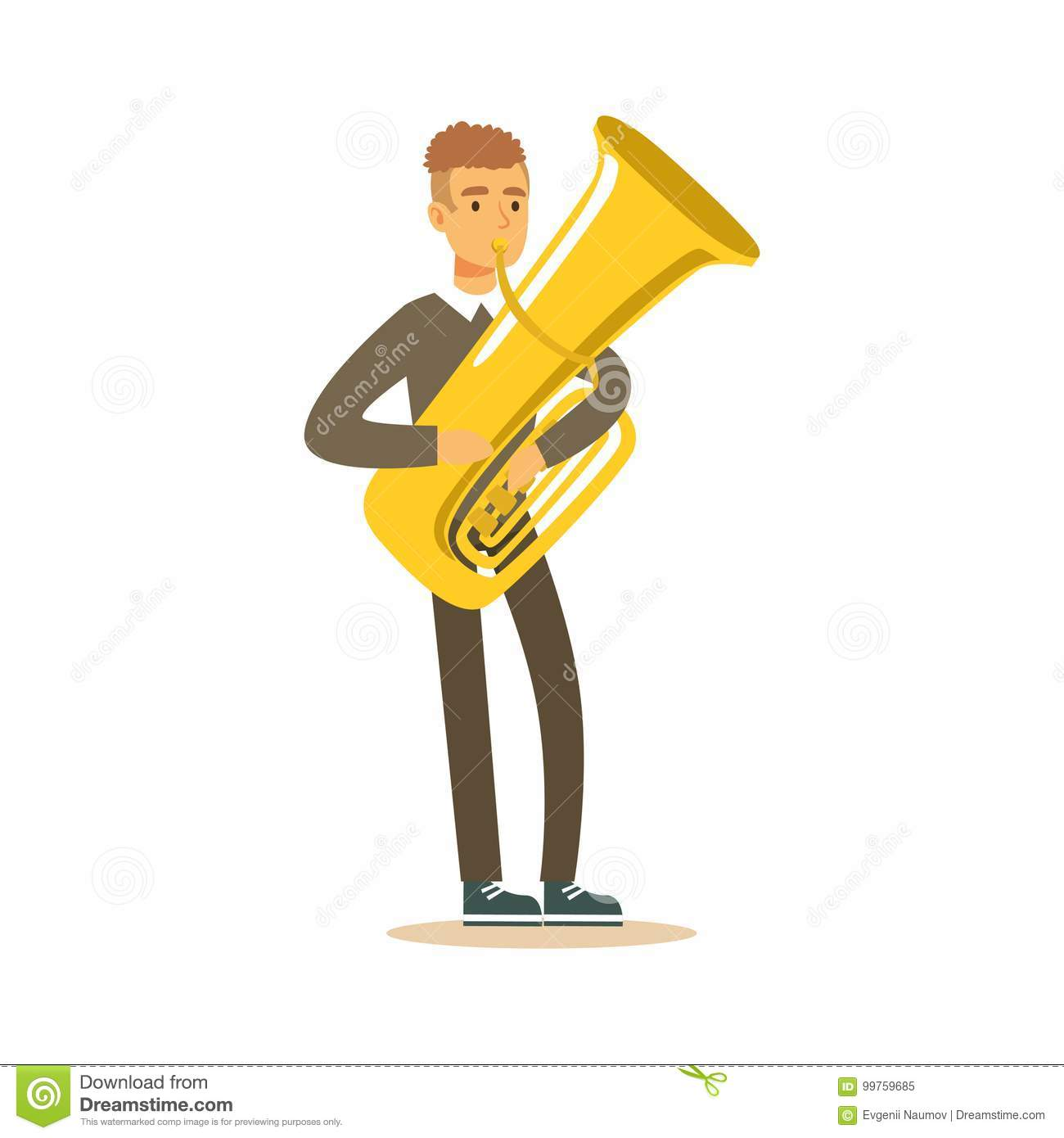 Musician Man Wearing A Classic Suit Playing French Horn
