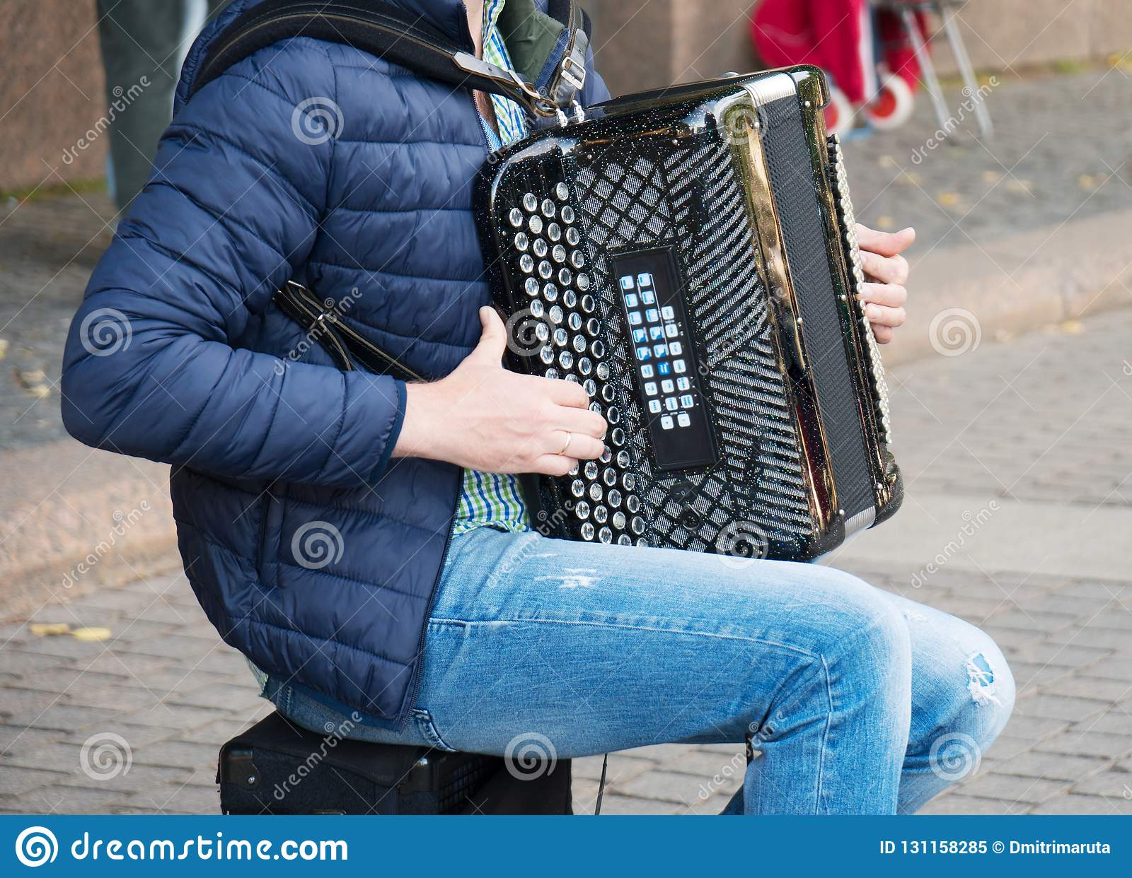 Musician Playing On Accordion. Stock Image - Image of ...