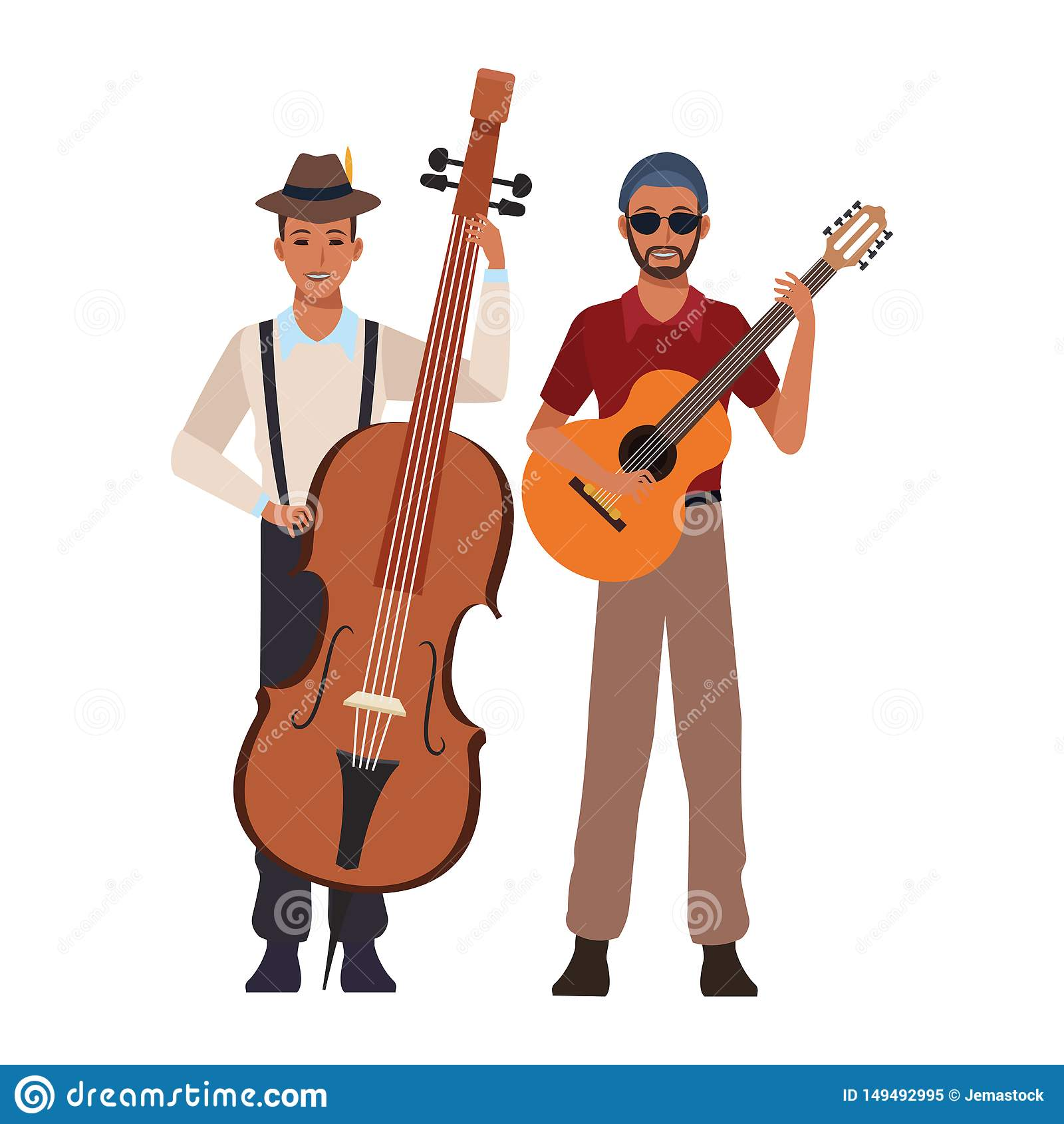 Musician playing bass and guitar