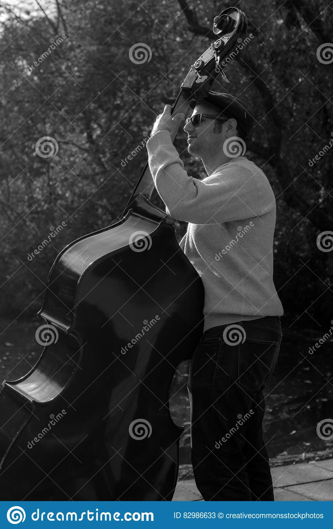 Download Musician Playing Bass Outdoors Stock Image - Image of musical, performer: 82986633