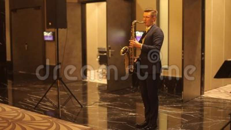 Musician playing the saxophone