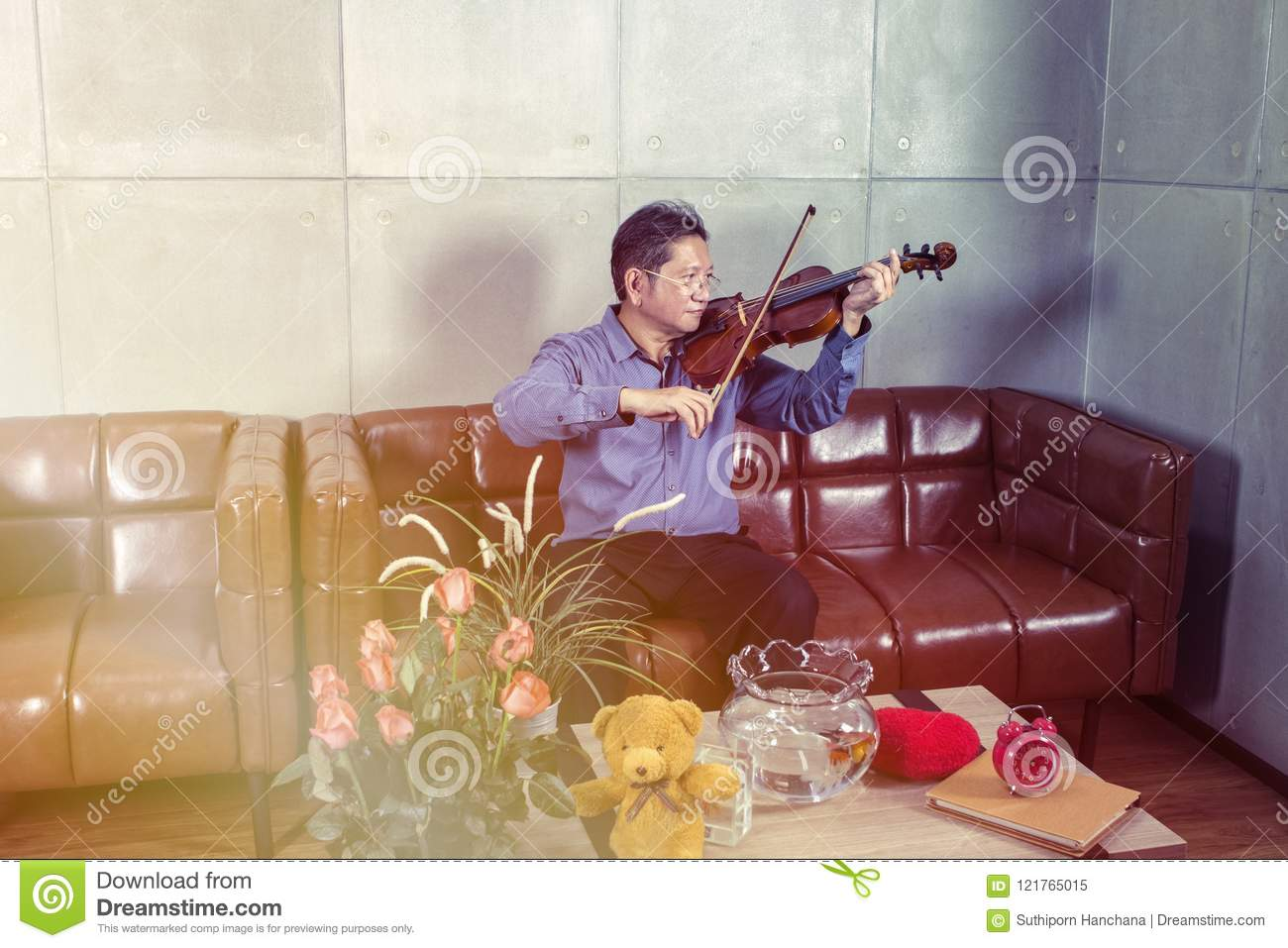 Musician playing violin in living room relax time.