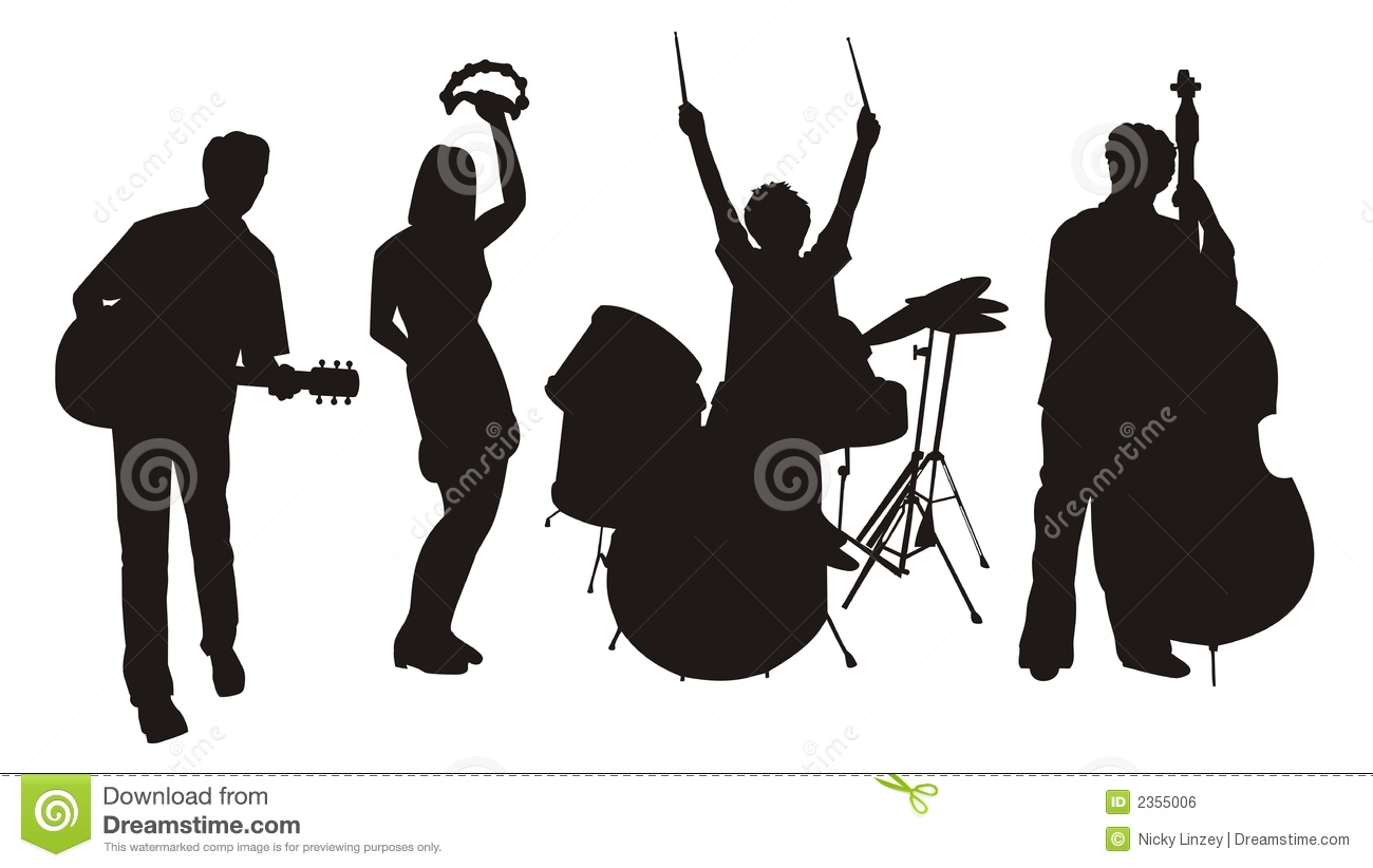 Illustration of silhouettes of musicians with their instruments.