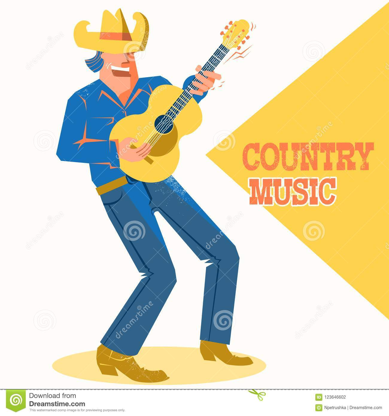 ce537d98c1430 Musician man in American cowboy hat palying the guitar and singing .Vector  music poster with text. More similar stock illustrations