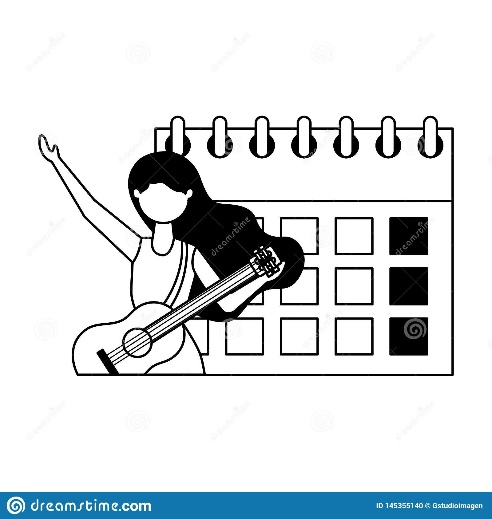Musician woman calendar labor day. Vector illustration white background stock photo