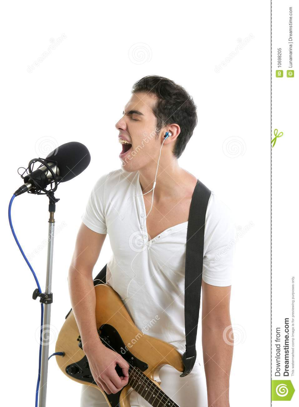 Musician young man playing electric guitar