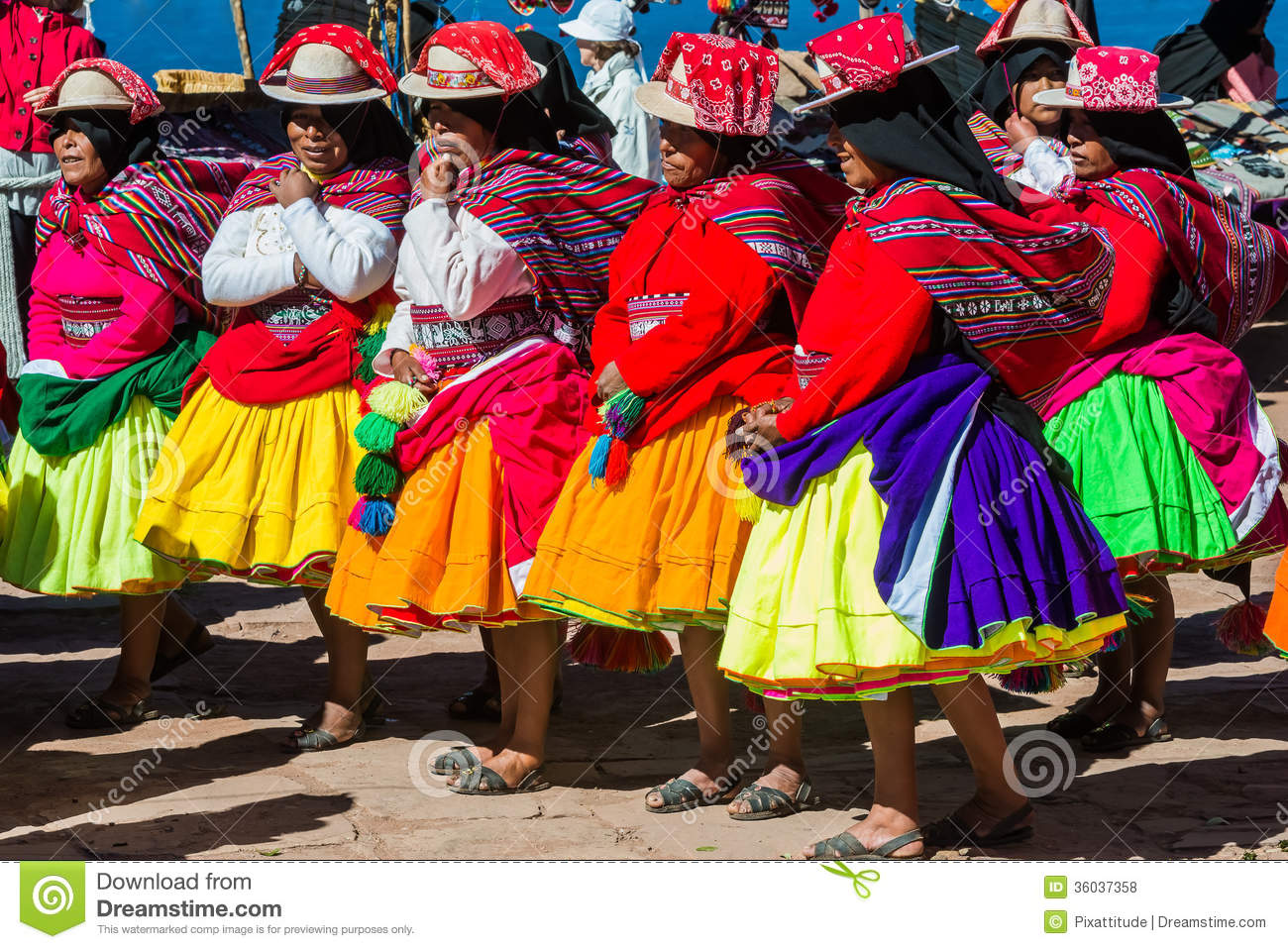 Musicians And Dancers In The Peruvian Andes At Puno Peru