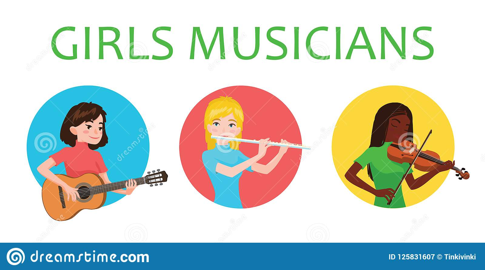 Musicians girls is inspired to play different musical instruments. Violinist, flutist, guitarist. Vector illustration in