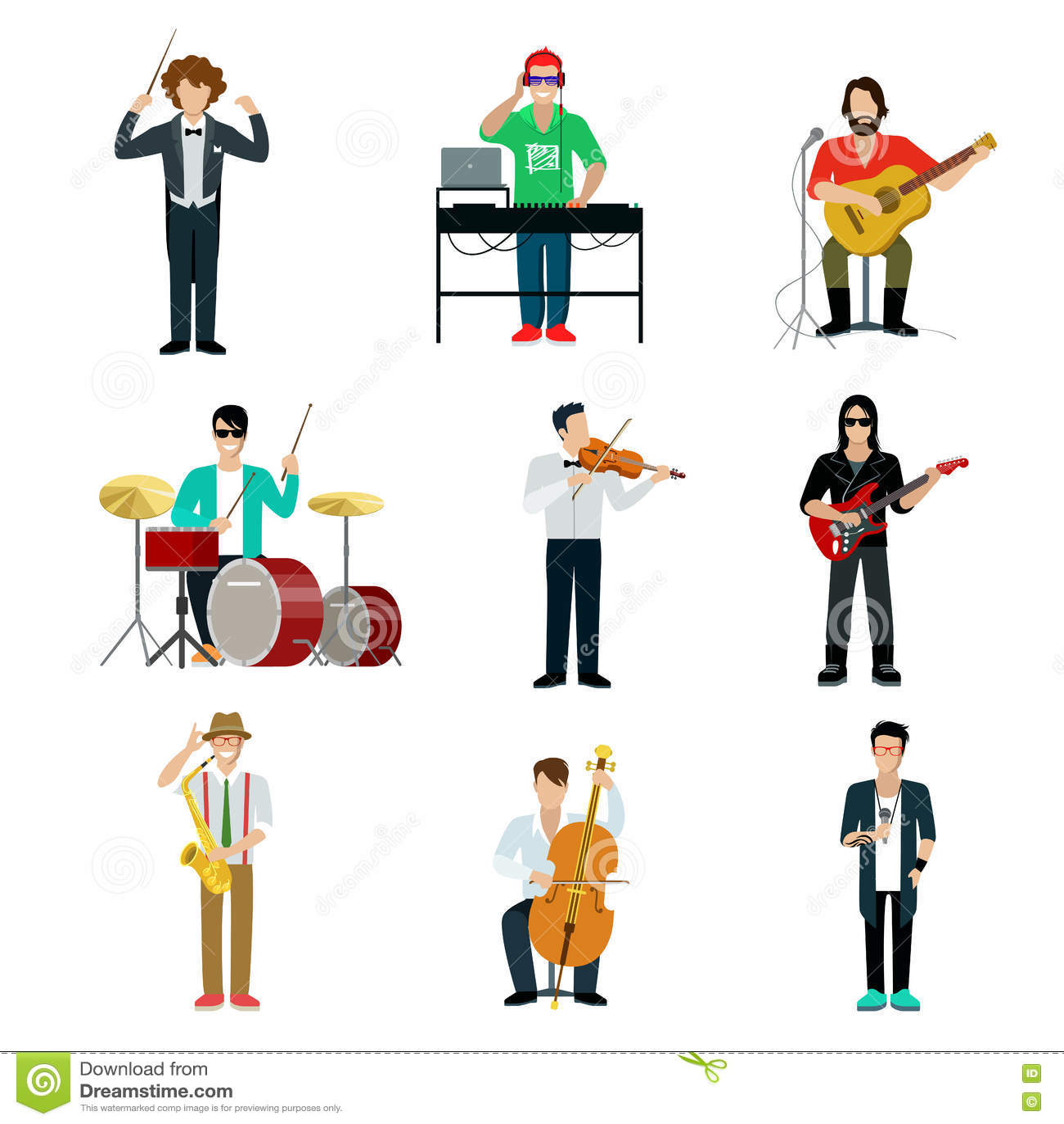 Musicians showman flat web infographic concept vector icon set