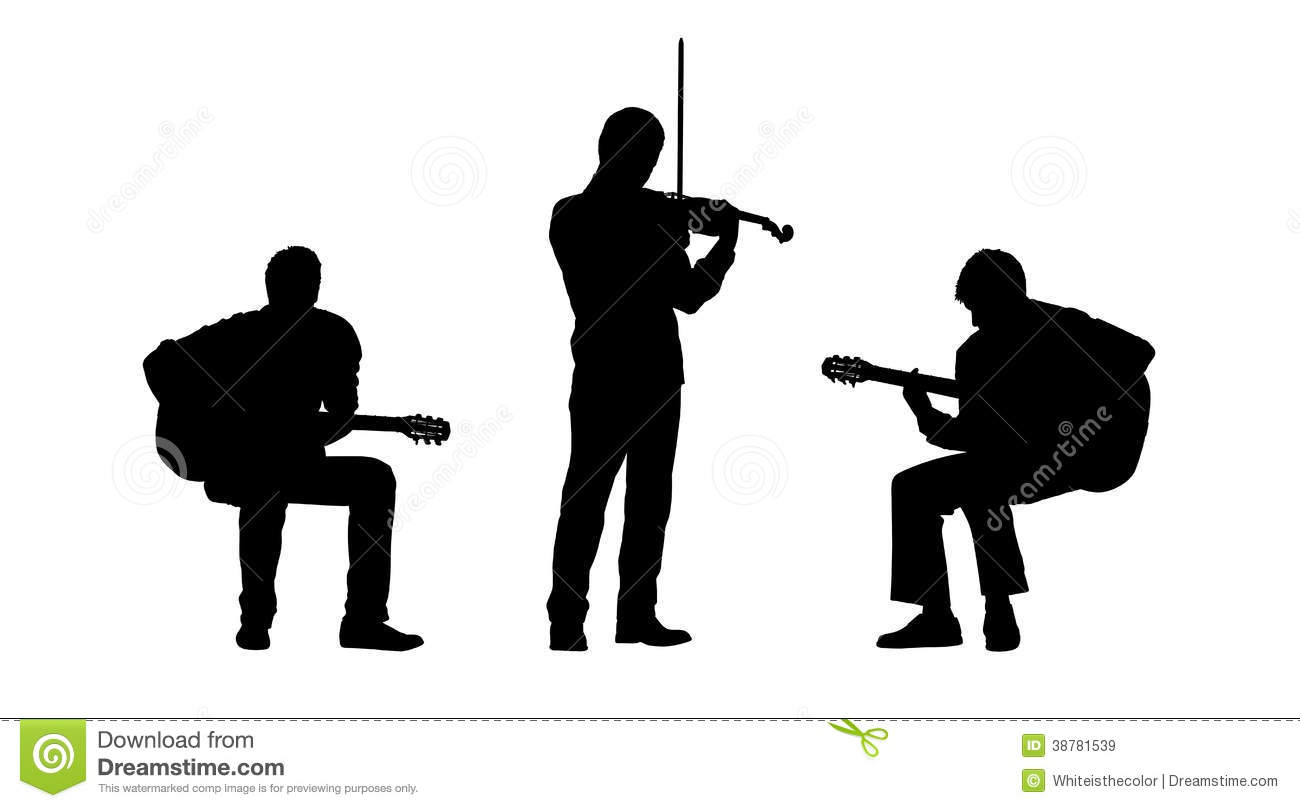 Black silhouettes of two musicians playing guitar seated and a ... Rock Band Silhouette