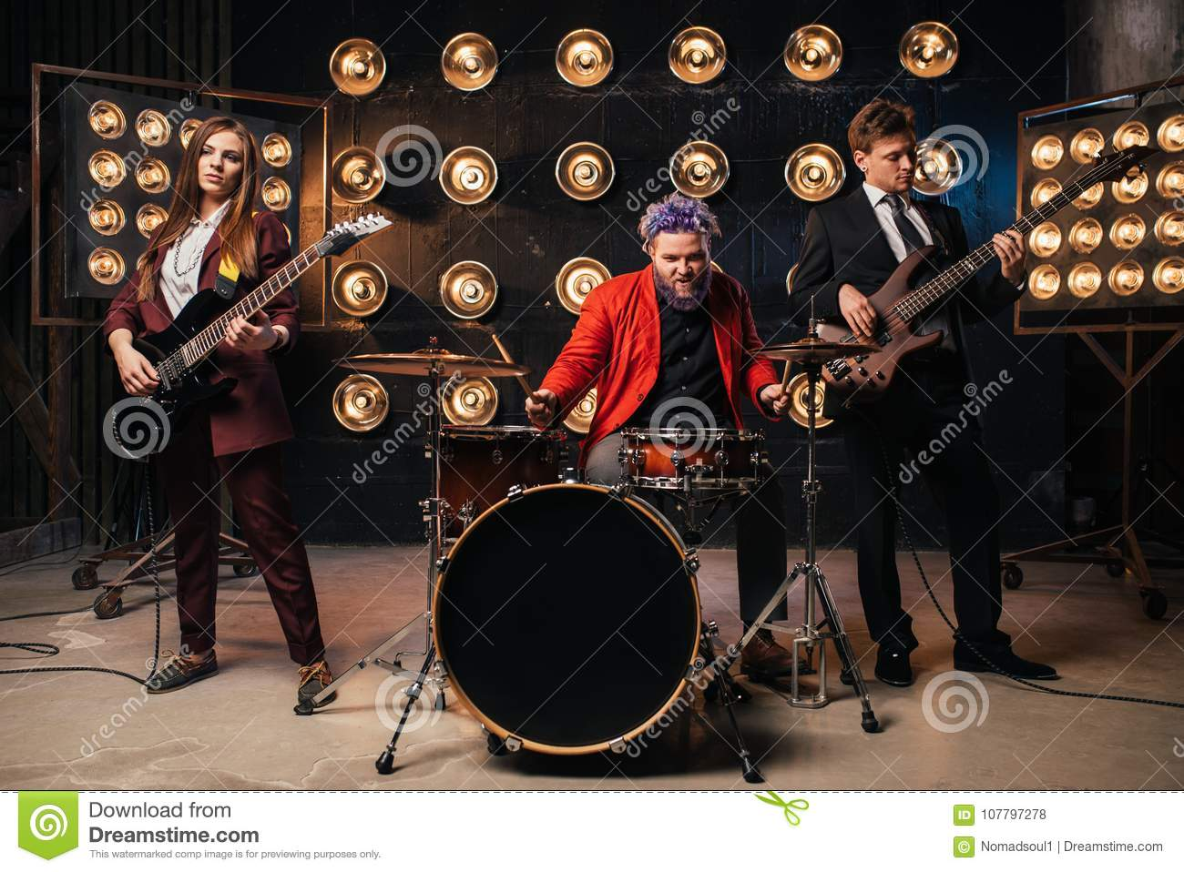 Musicians In Suits On The Stage, Retro Style Stock Photo