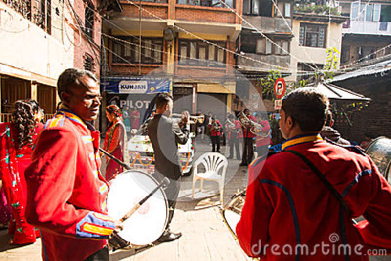 Musicians In Traditional Nepalese Wedding  Largest City Of