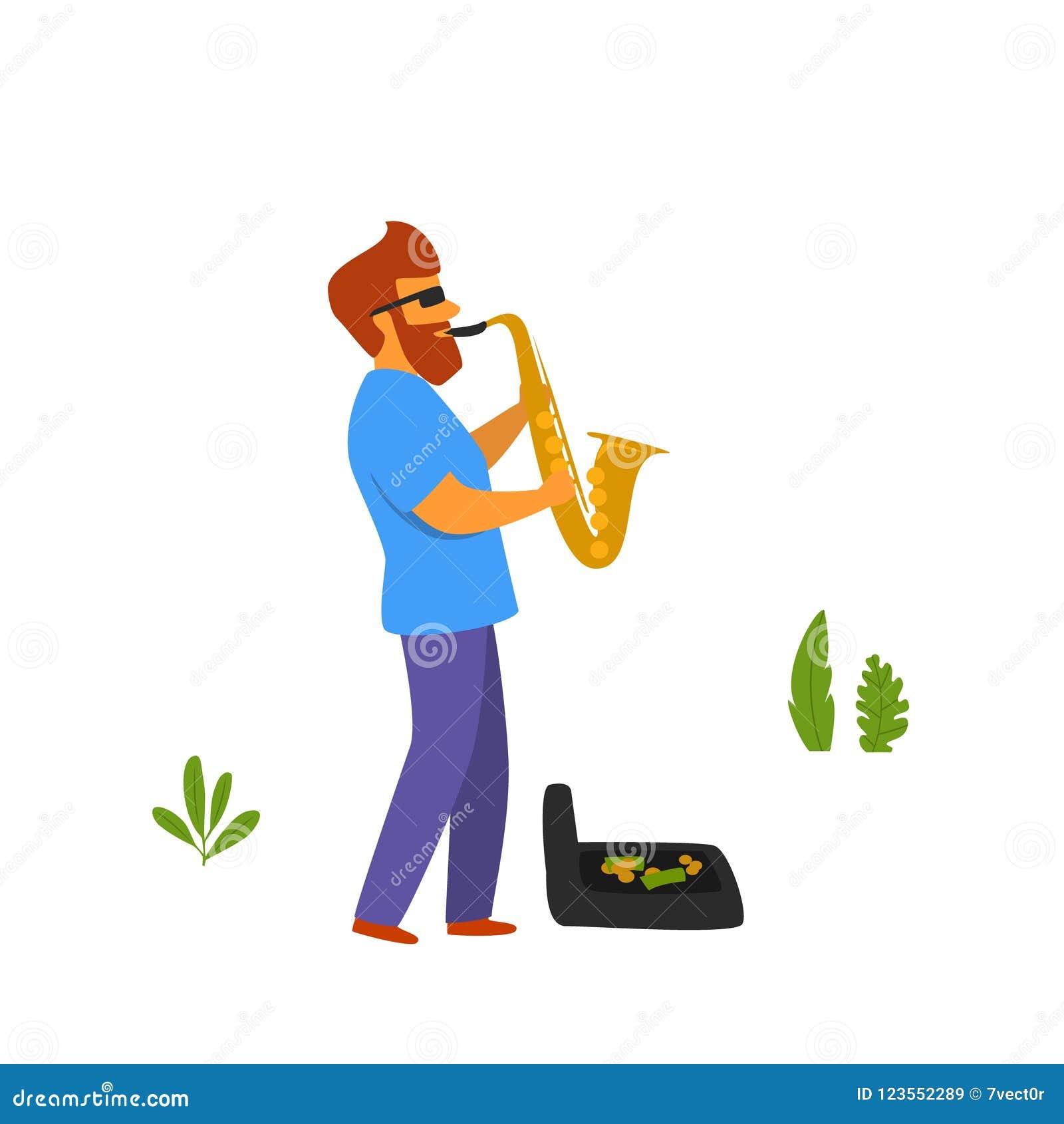 Musicien de rue jouant le saxophone dans le vecteur de parc