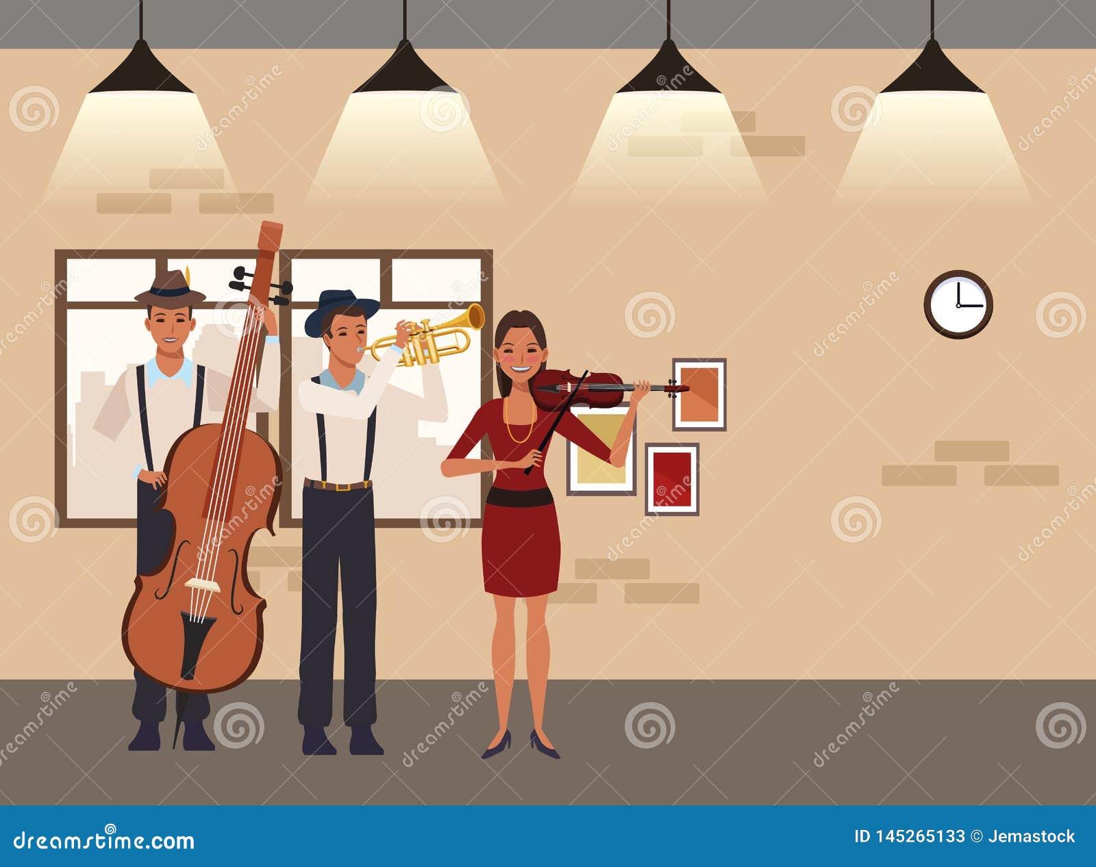 Musicien jouant la basse et le violon de trompette