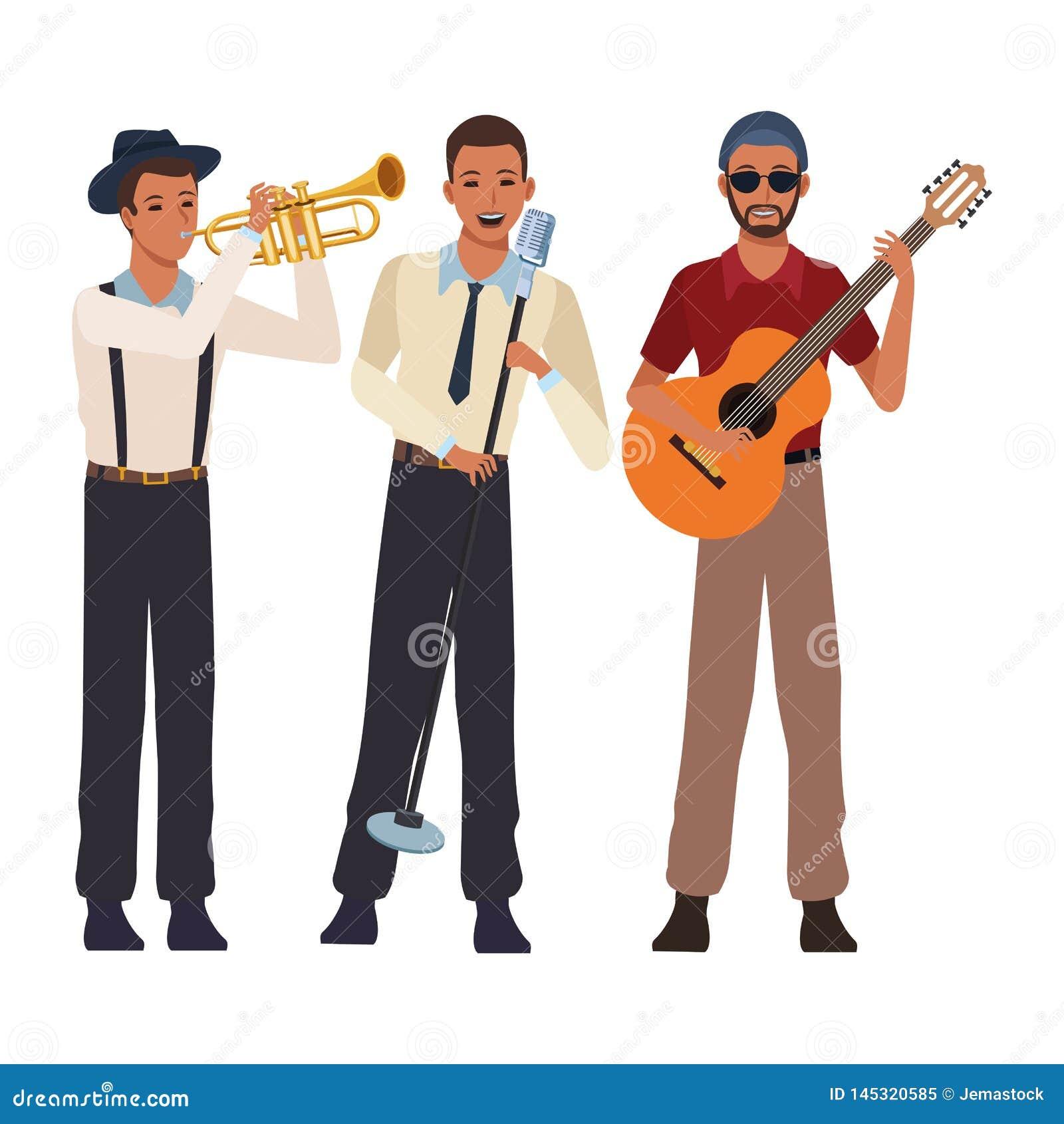 Musicien jouant la guitare et le chant de trompette