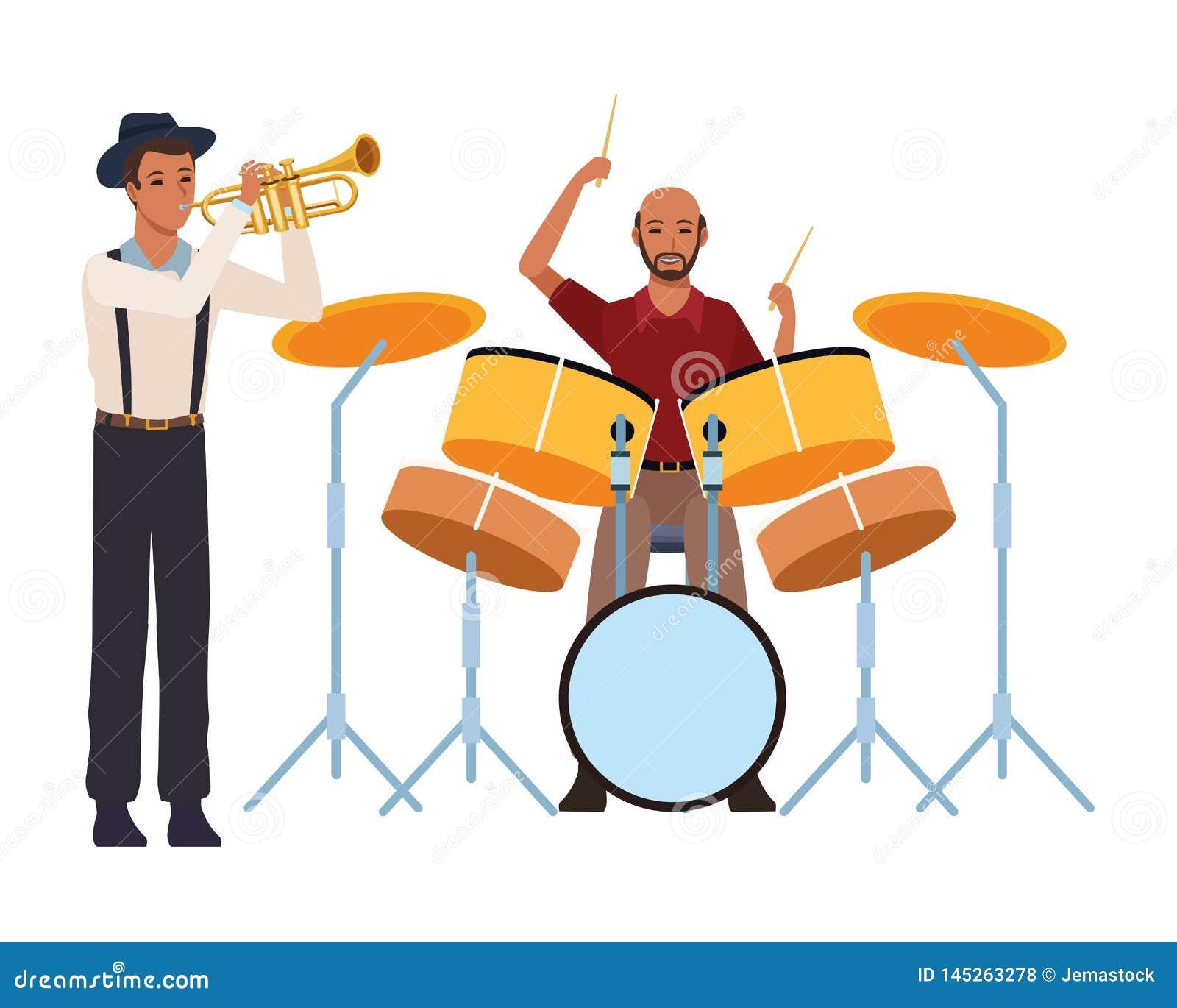 Musicien jouant la trompette et les tambours