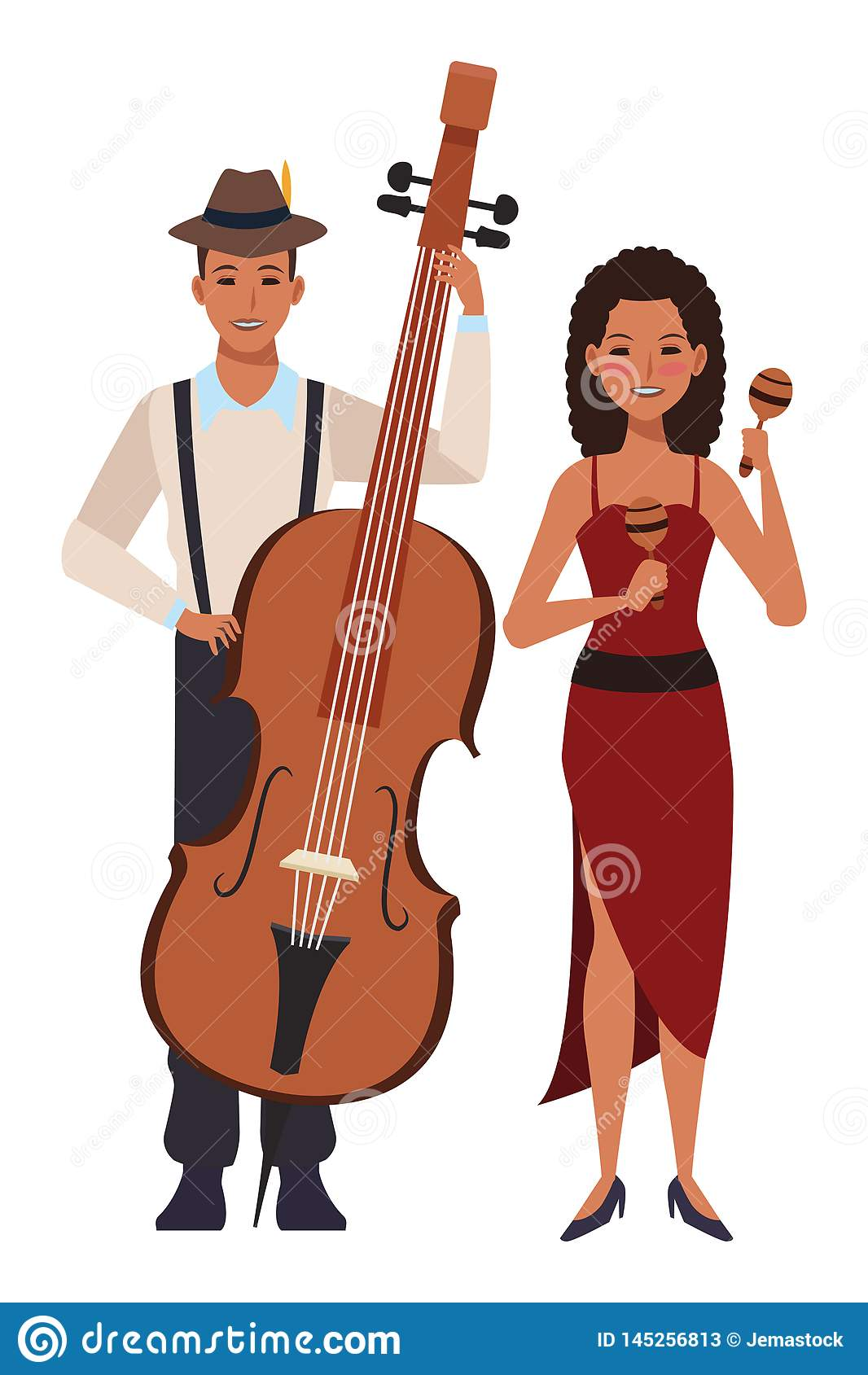 Musicista che gioca basso ed i maracas