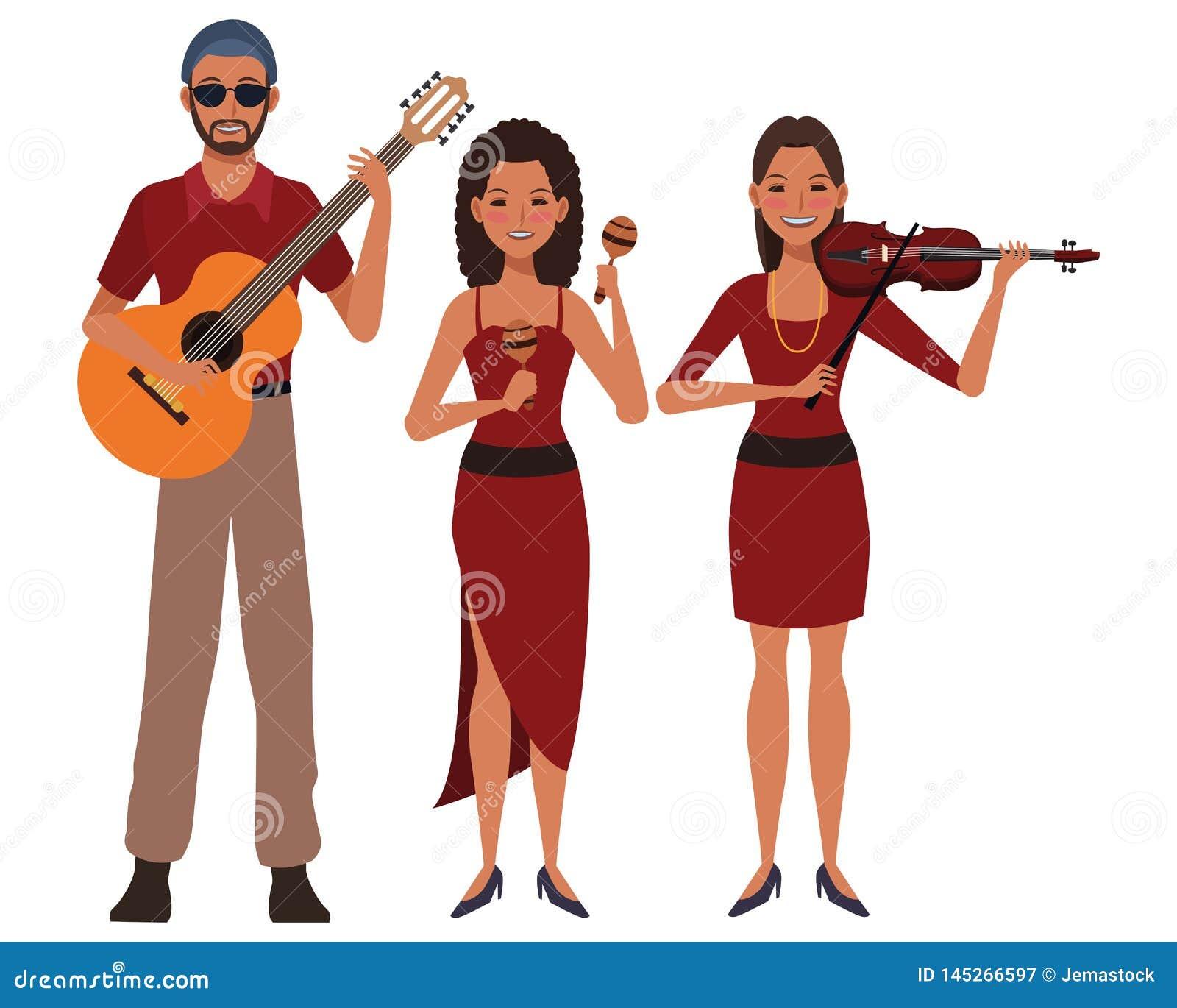 Musicista che gioca il violino ed i maracas della chitarra