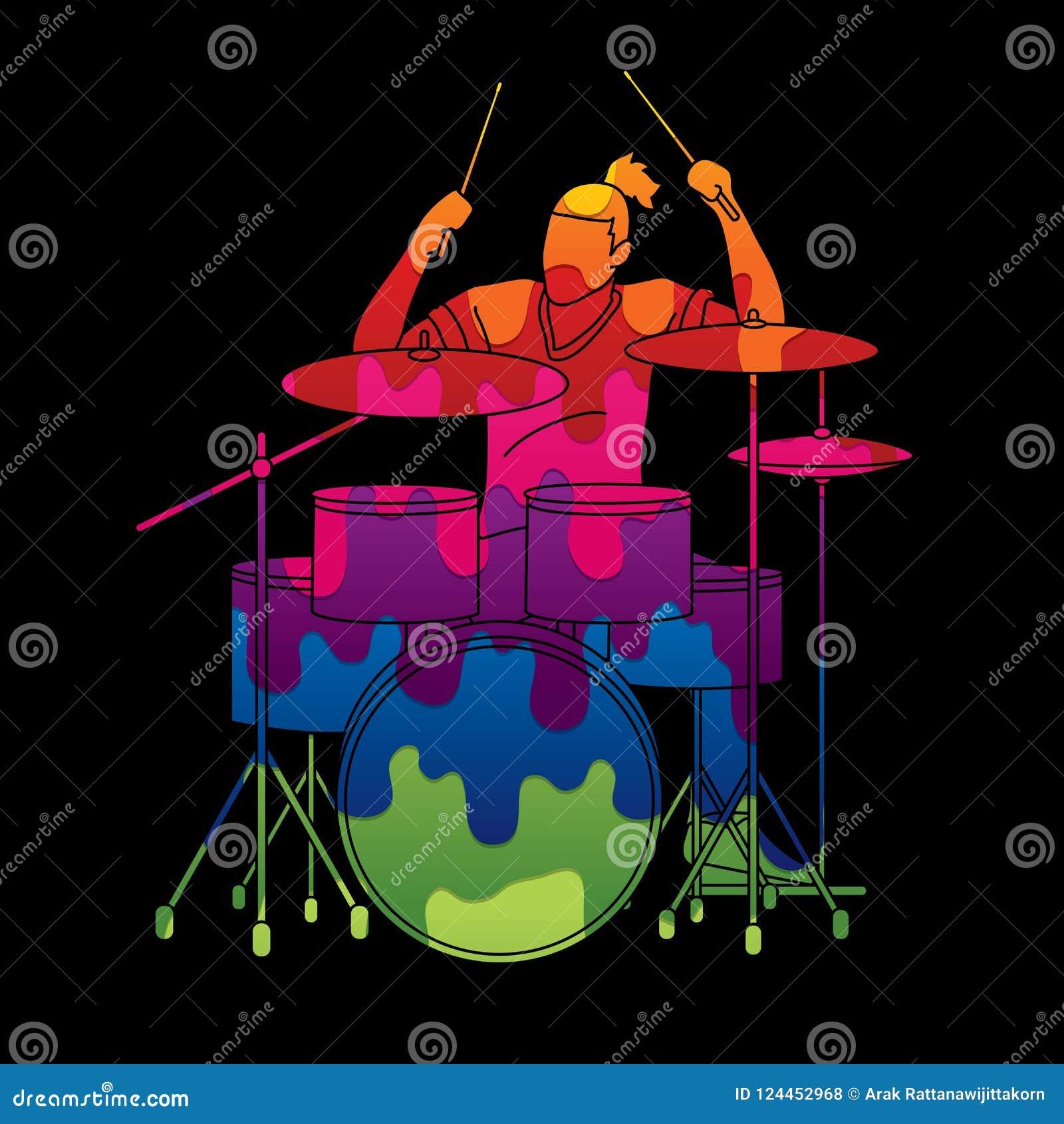 Musicista che gioca tamburo, banda di musica