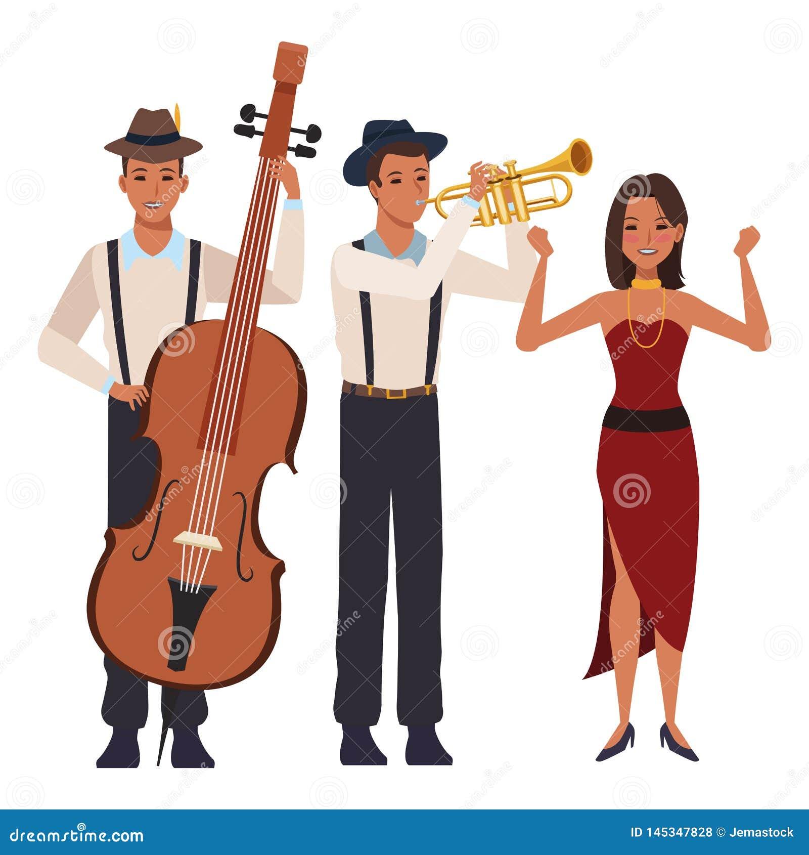 Musicista che gioca tromba bassa e ballare