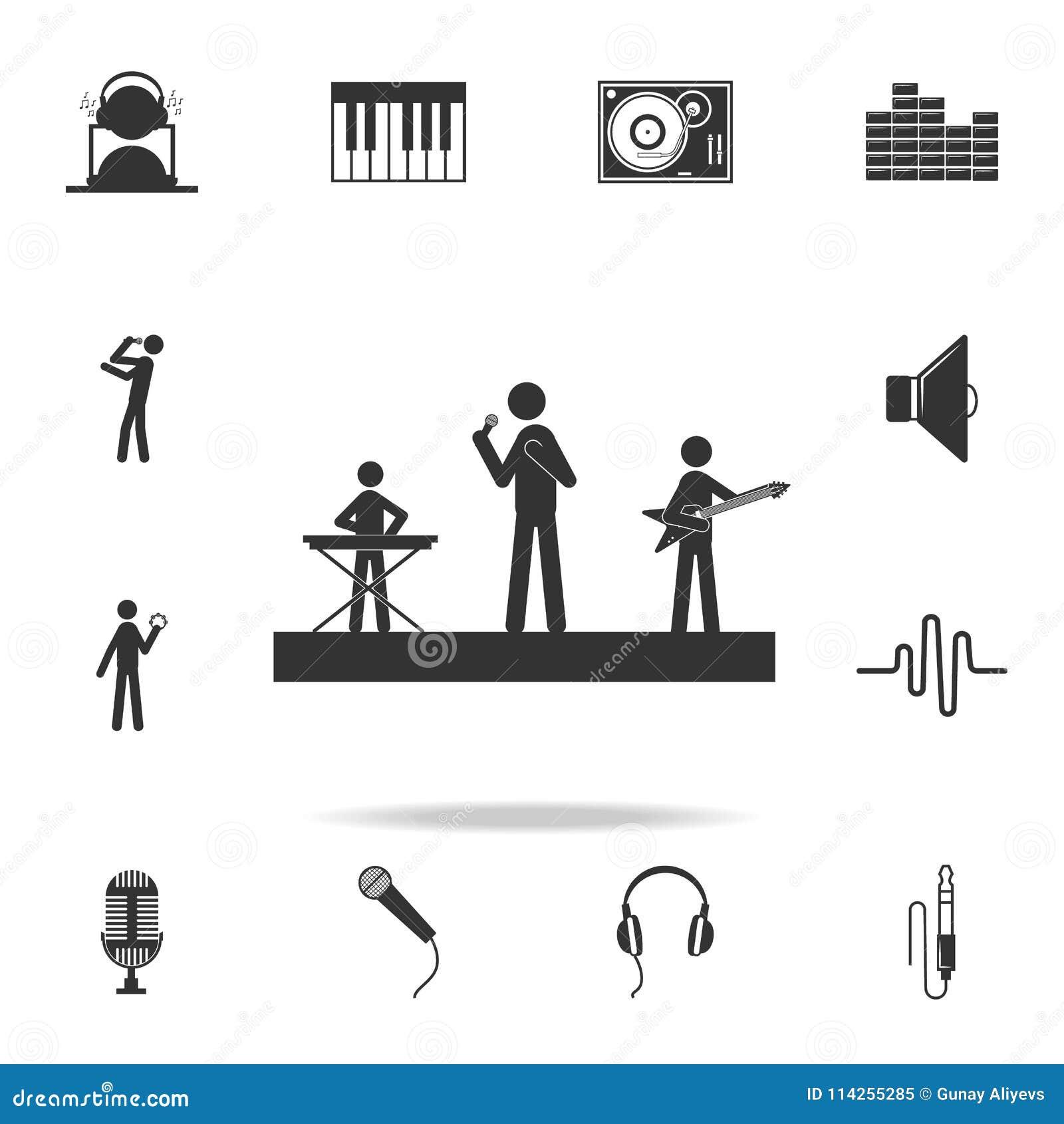 Musicisti su un icona delle chitarre del gioco e di scena Insieme dettagliato delle icone di musica Progettazione grafica di qual