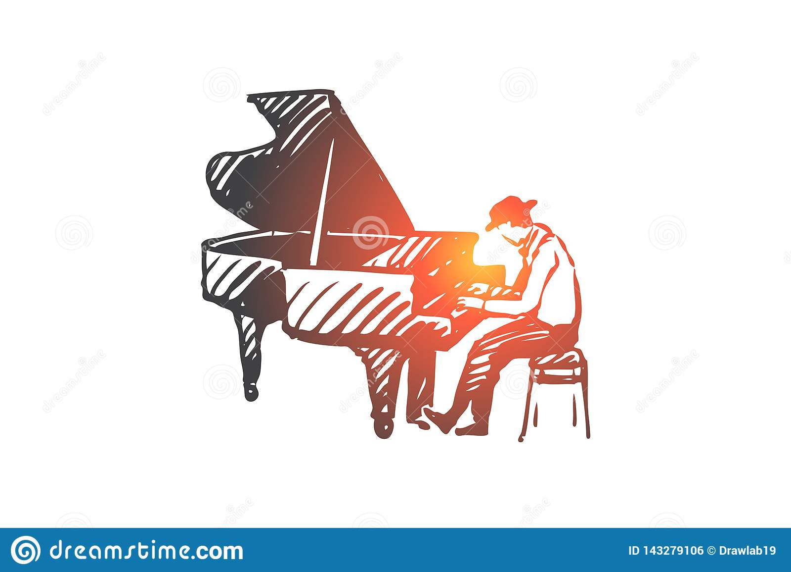 Musicus, jazz, piano, prestaties, muziekconcept Hand getrokken geïsoleerde vector