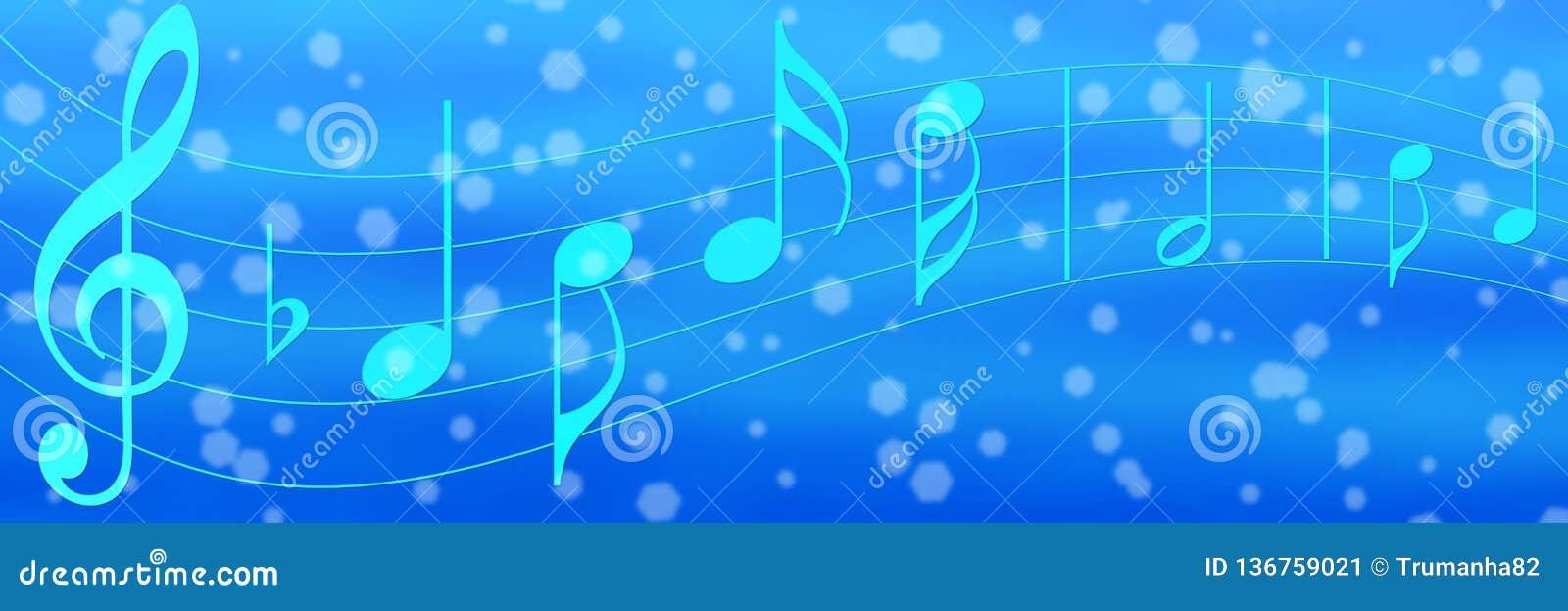 Musik-Anmerkungen im blauen Fahnen-Hintergrund