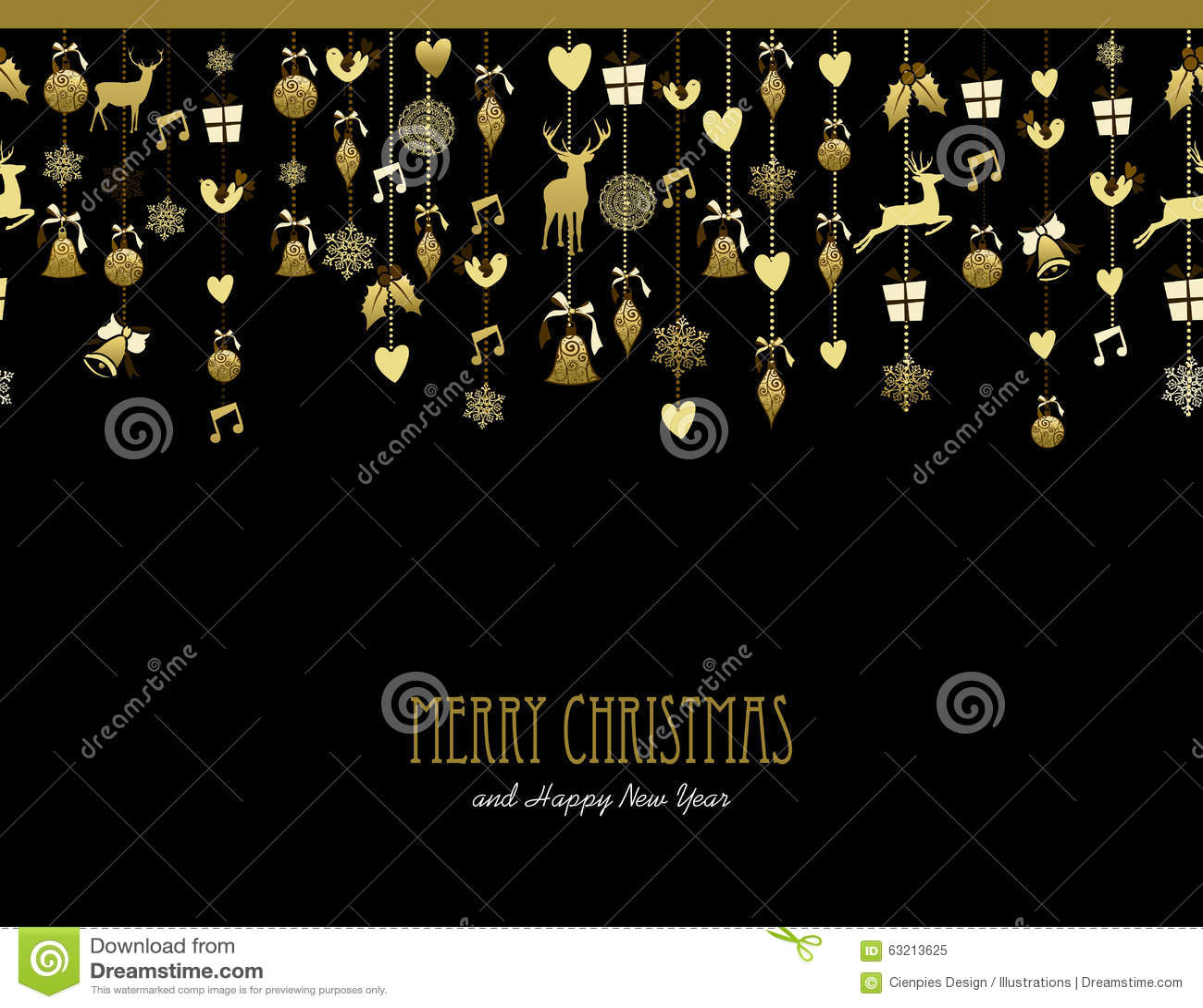 Musik för hjortar för snö för garnering för glad jul guld-