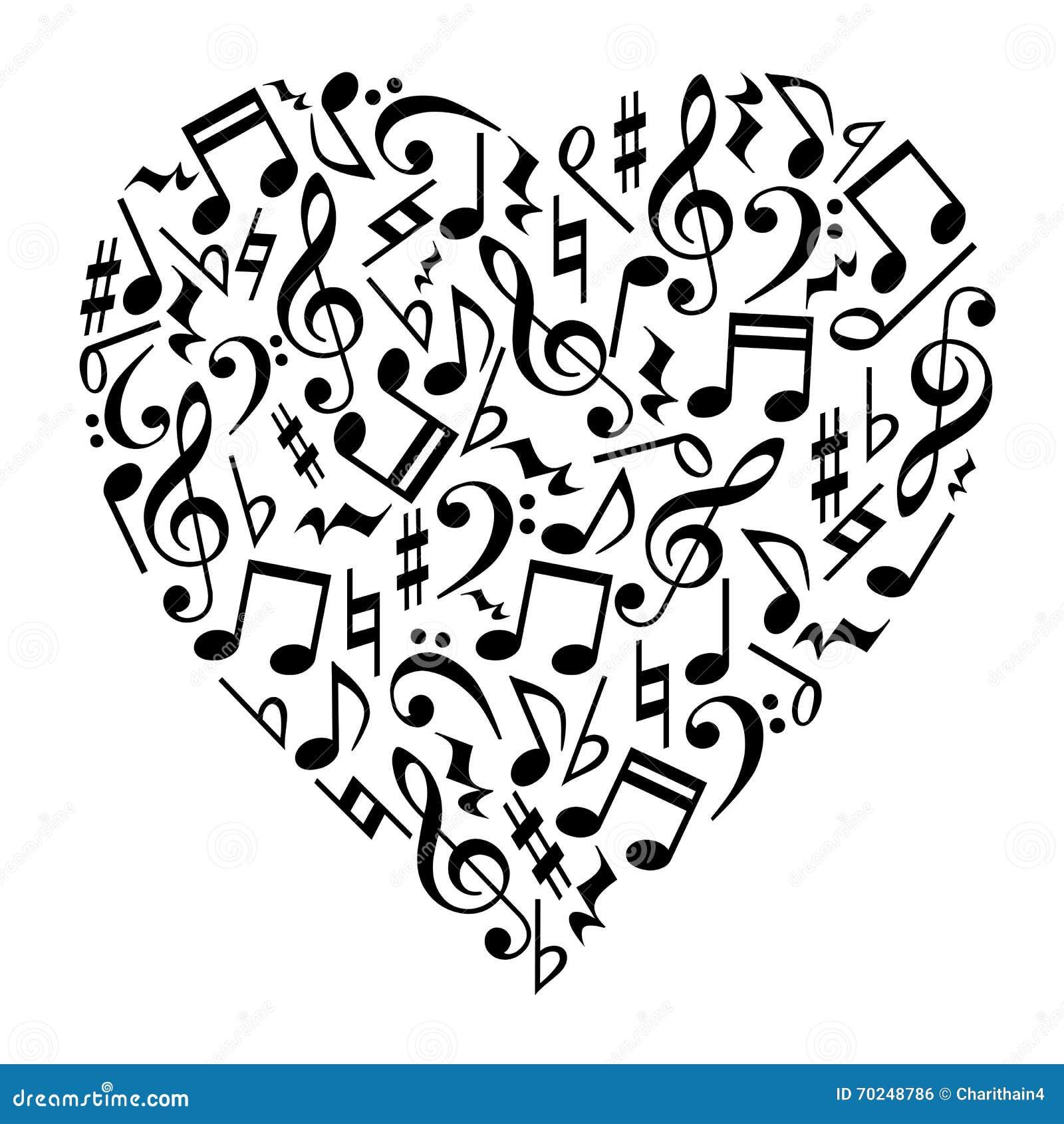 Musik noterar hjärta