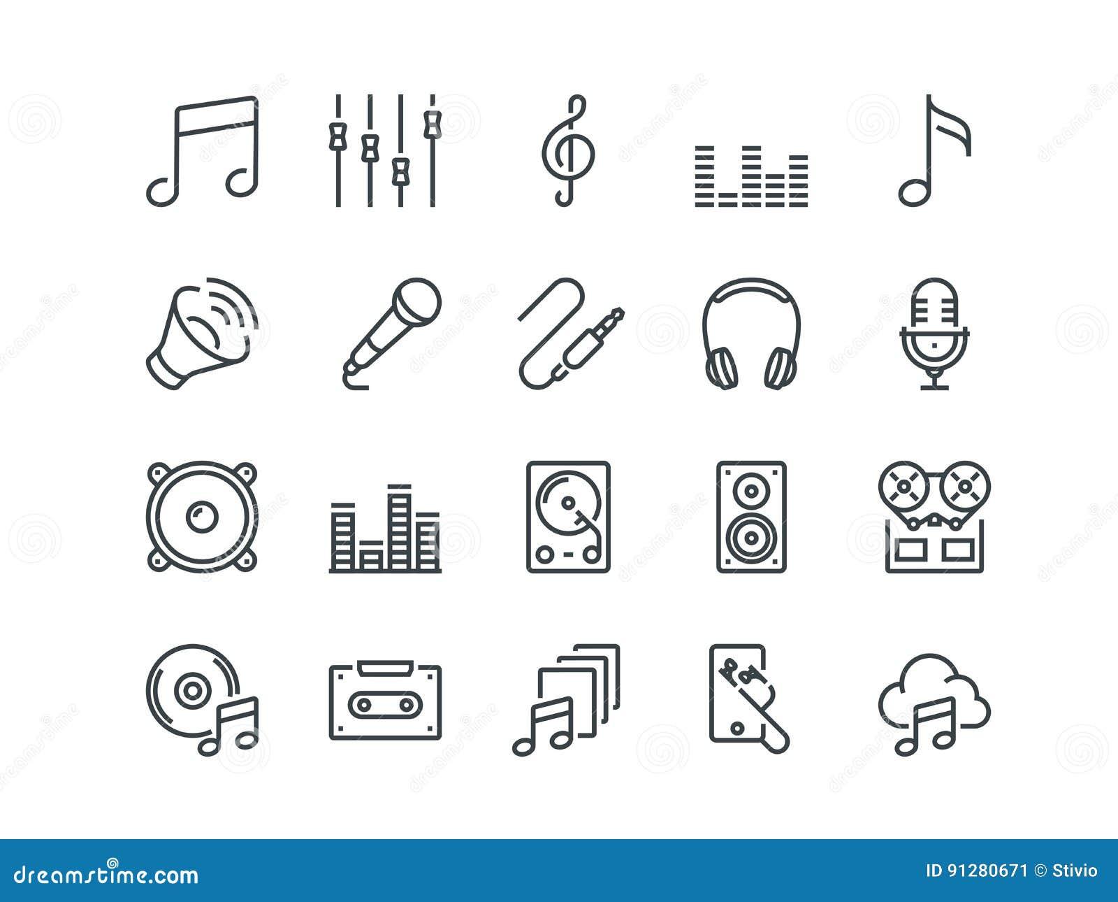 Musik Uppsättning av översiktsvektorsymboler Inkluderar liksom headphonen, blandare, kassetten och annan Redigerbar slaglängd PIX