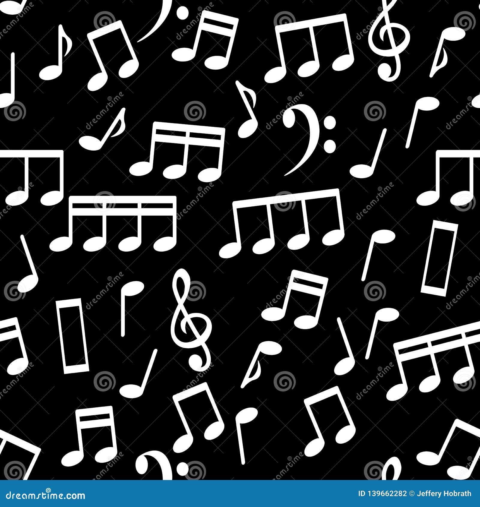 Musikalische Anmerkungen, nahtlose Muster-Hintergrund-Vektor-Illustration