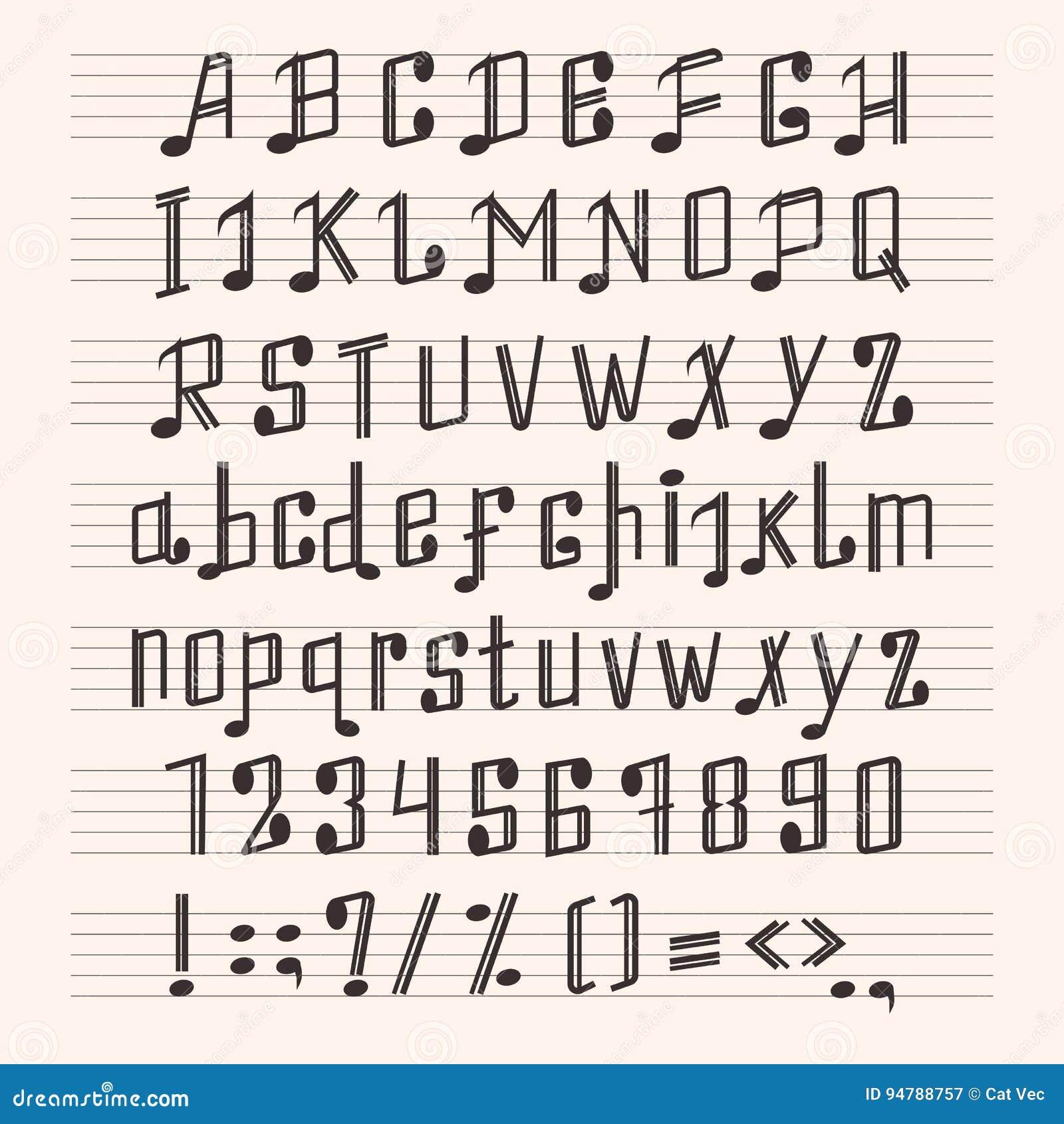 Musikalische dekorative Anmerkungsalphabetgusshandkennzeichenmusikergebnis-ABC-Typografie Glyph-Papierbuch-Vektorillustration